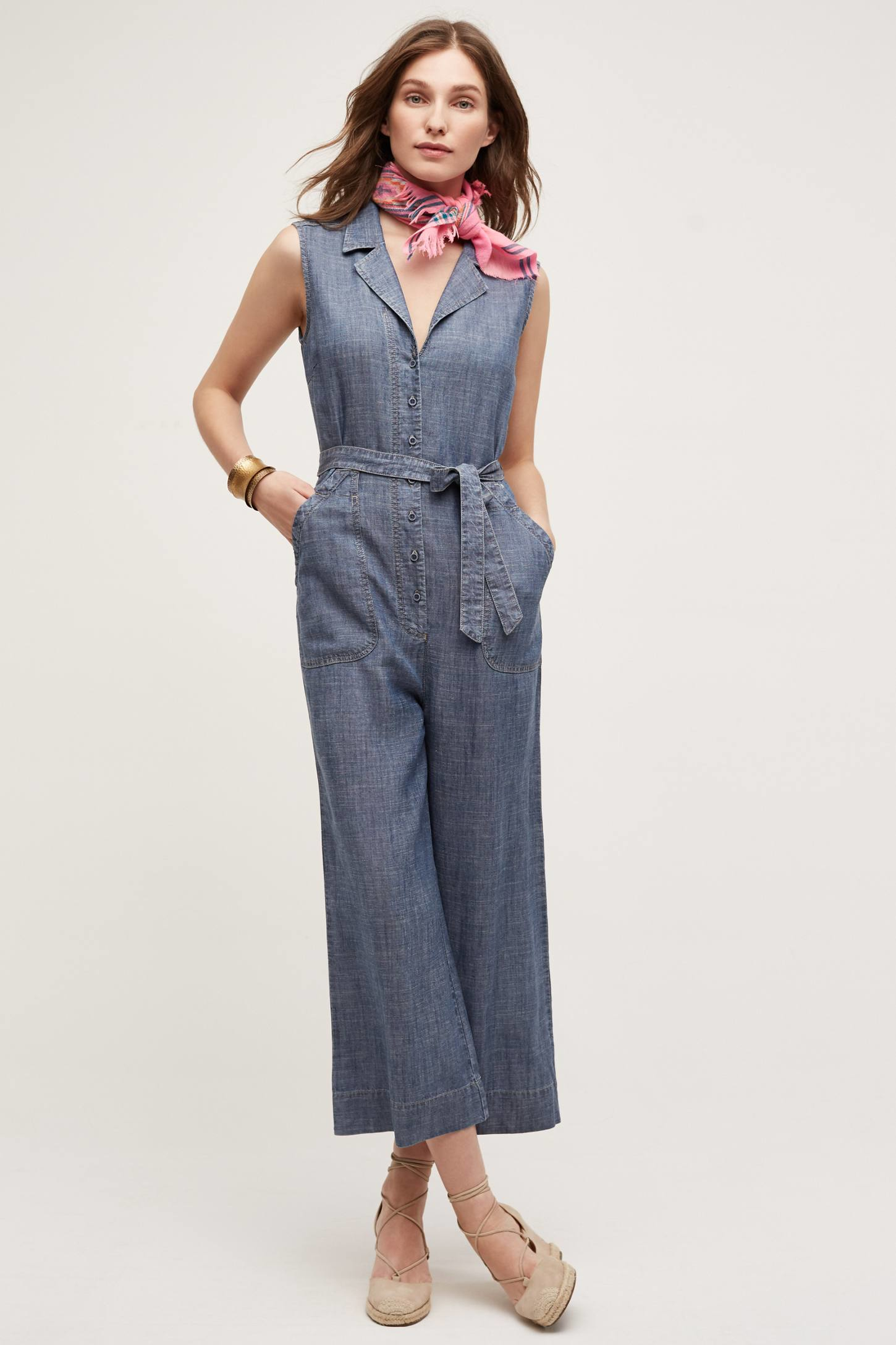 071aed95d12d Lyst - Level 99 Chambray Jumpsuit in Blue