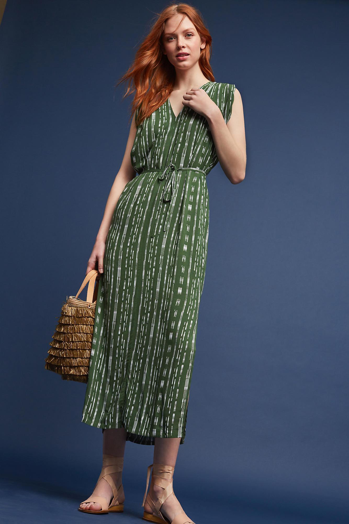 0807244aff1b Porridge Rhiannon Pleated-shoulder Dress, Green in Green - Lyst