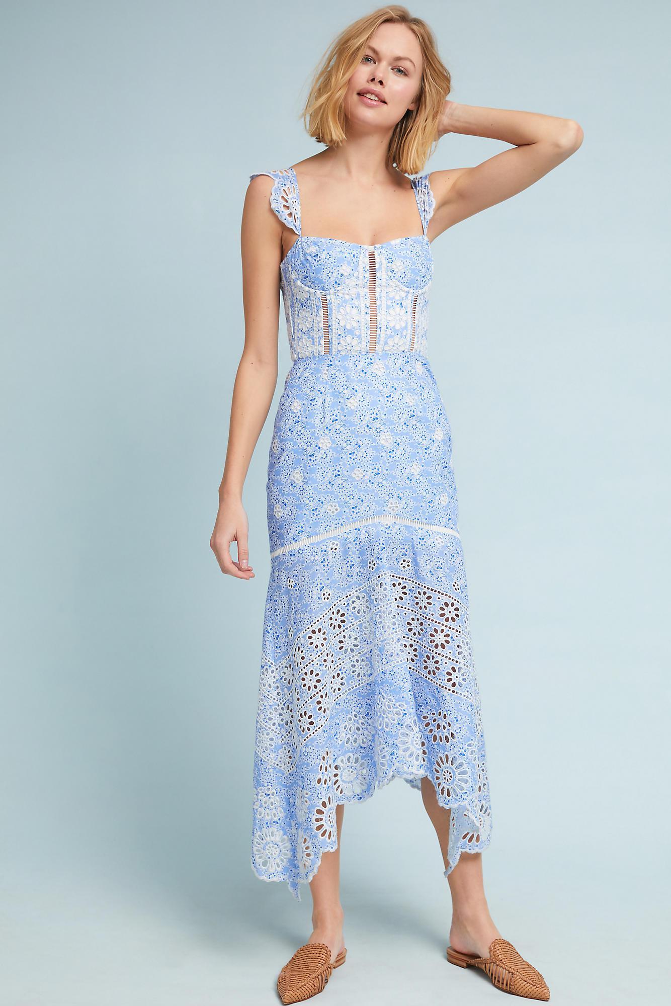 Lyst - Karina Grimaldi Ivy Corseted Dress in Blue