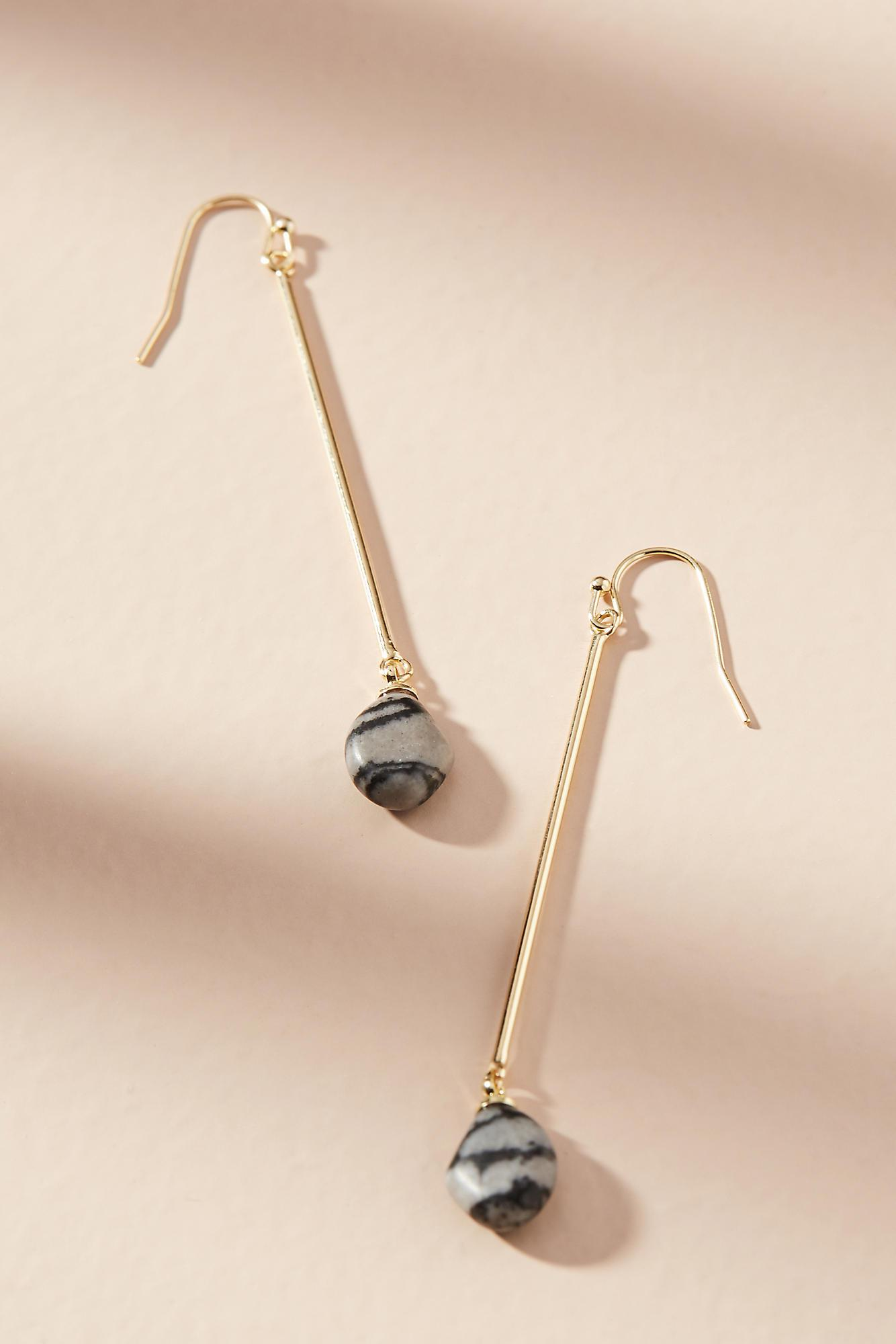 Anthropologie Tumbled Stone Drop Earrings