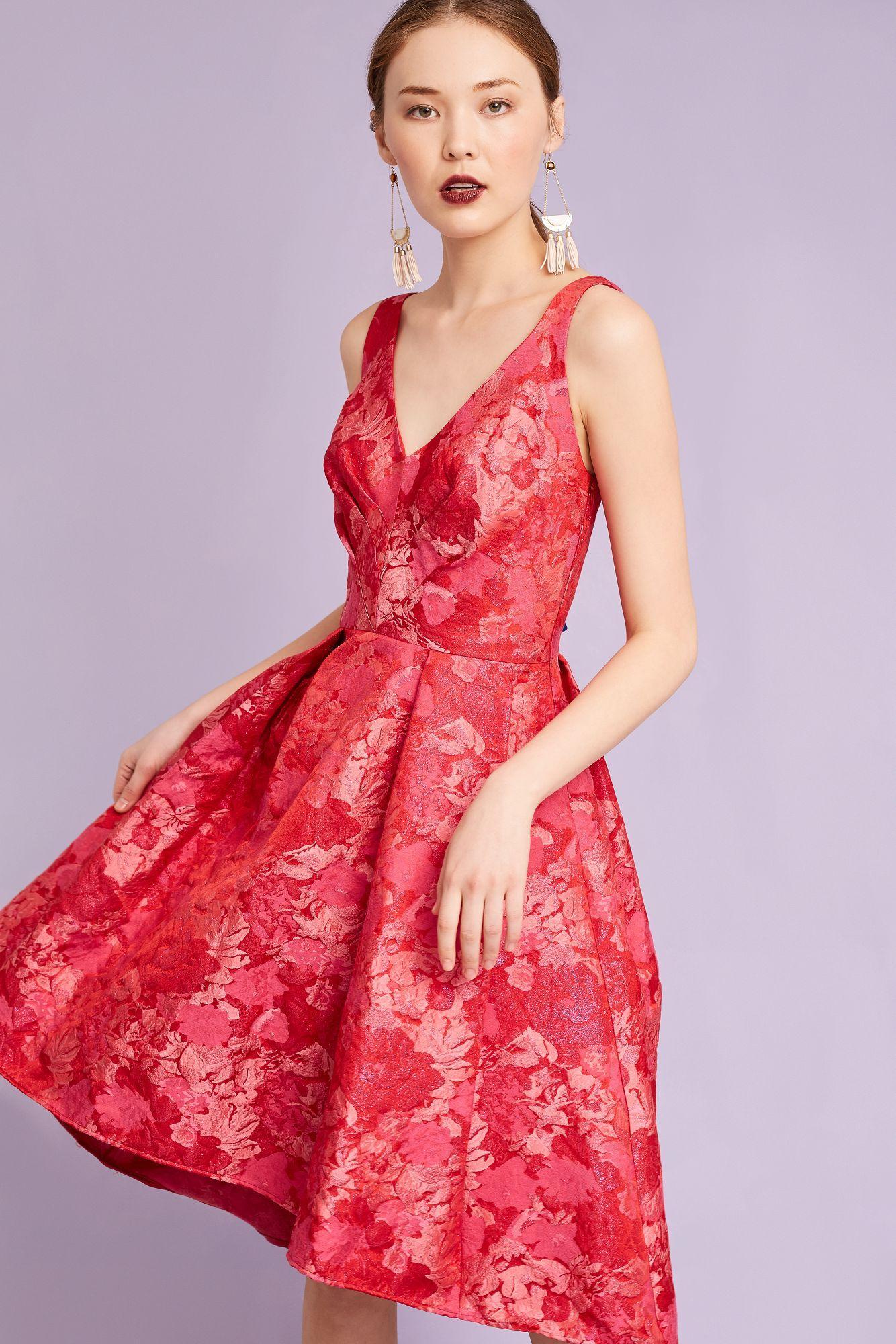 844add04645c Eva Franco Zander Brocade Dress, Red in Red - Lyst
