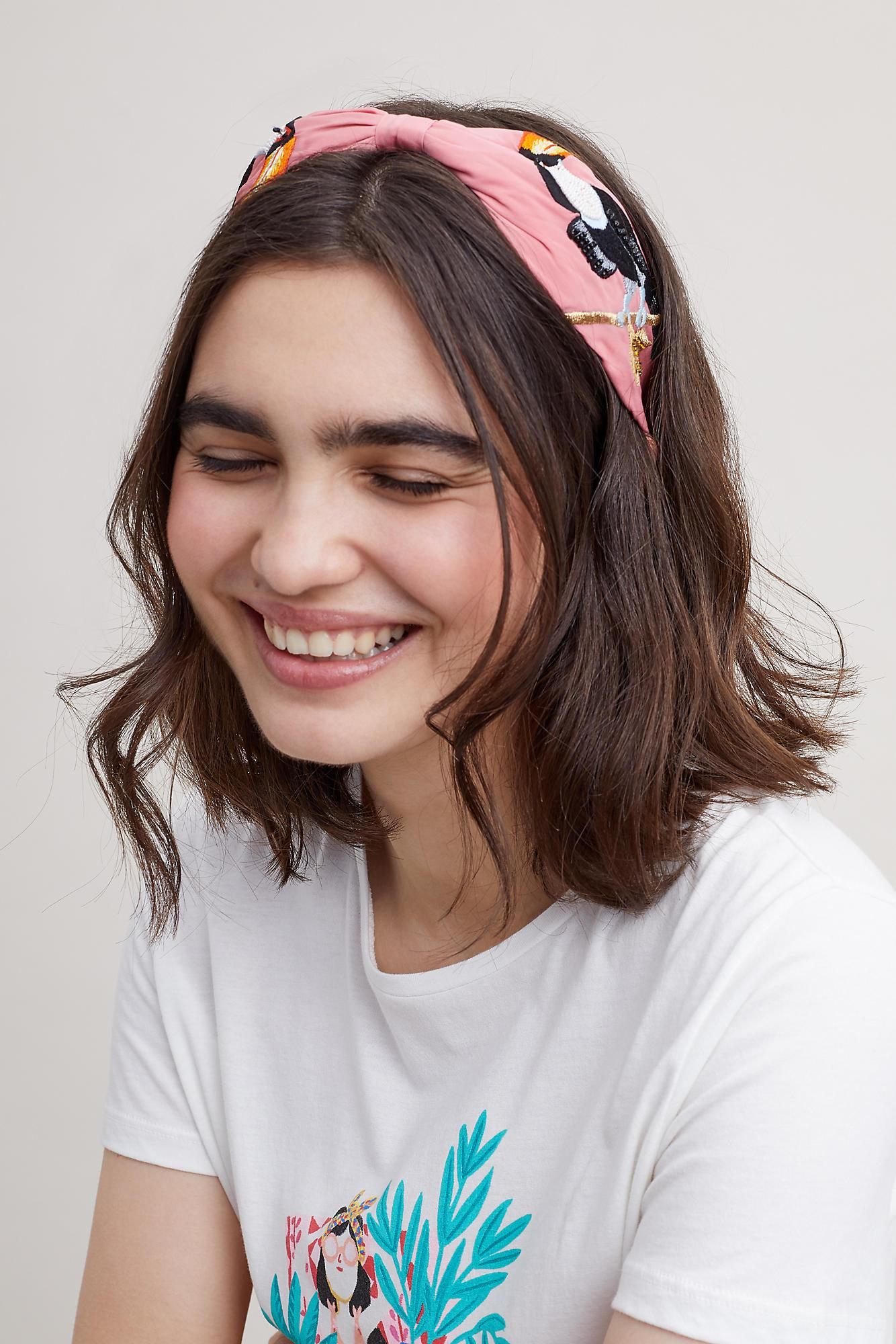 Anthropologie Lisa Toucan-embroidered Headband in Pink - Lyst 2a33b85f89e