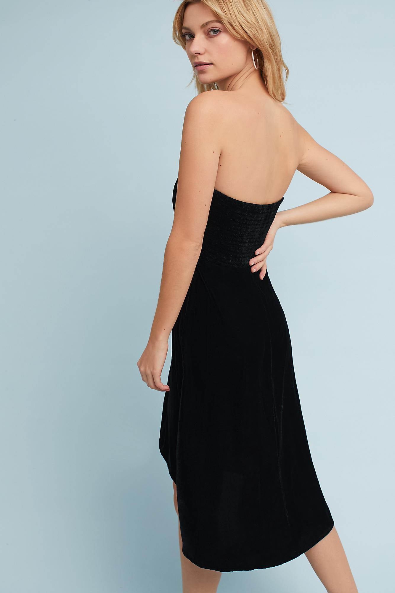 Lyst - Plenty By Tracy Reese Strapless Velvet Petite Dress in Black