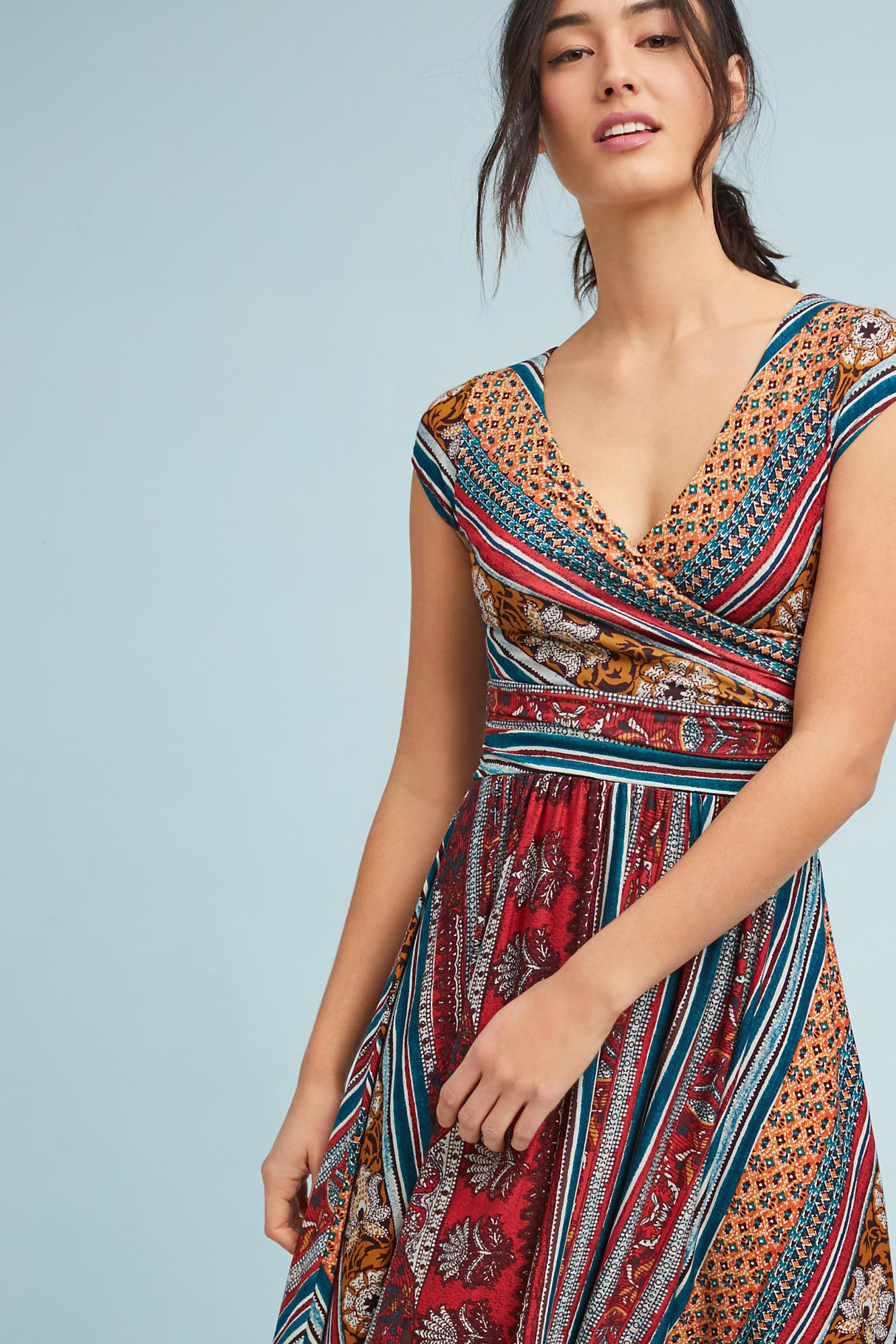 Lyst - Maeve Twinkling Wrap Dress in Red
