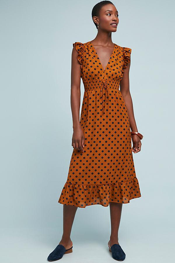 f225d23ebe3e Anthropologie Makeda Polka-dot Dress in Metallic - Lyst