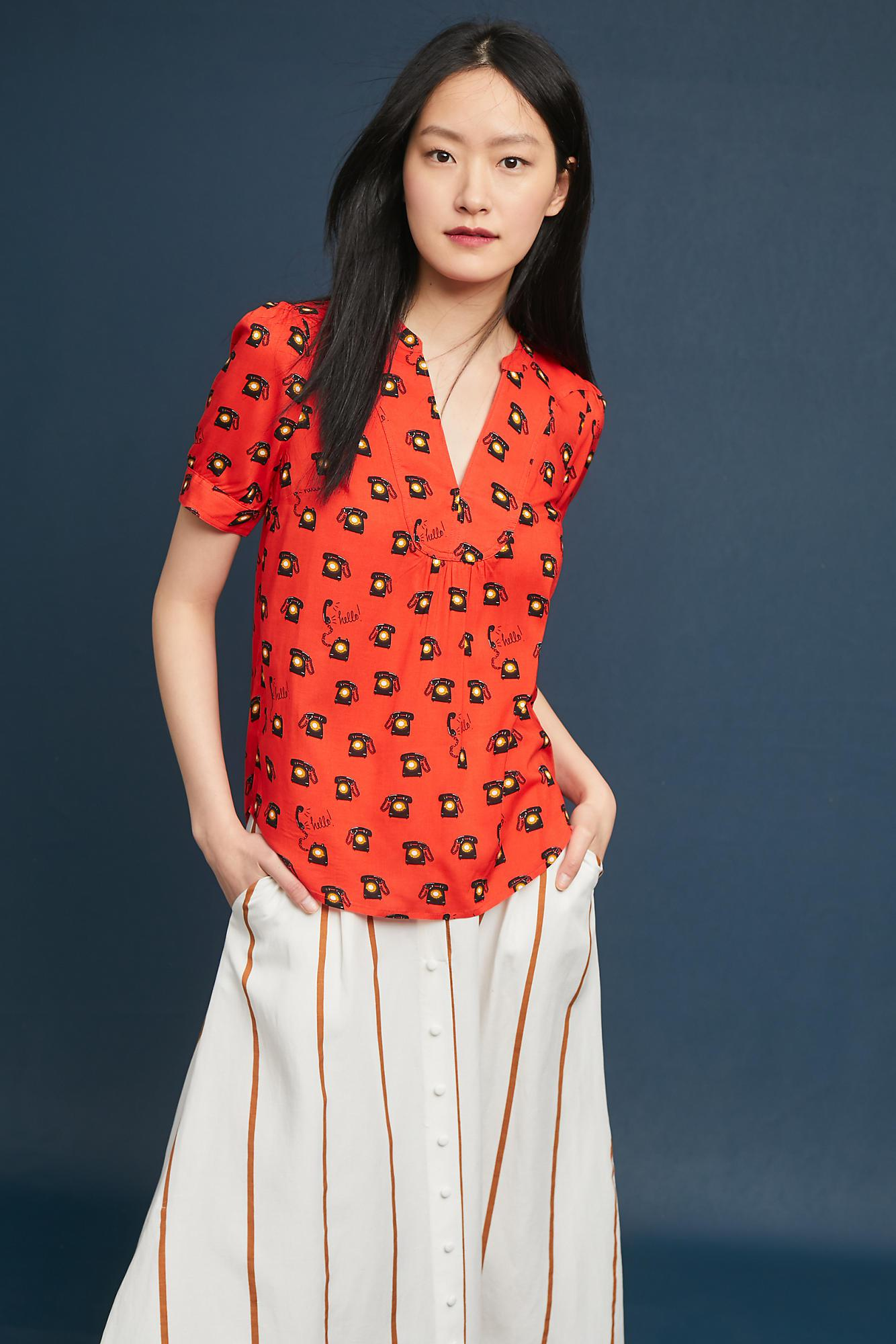 21ab39ea32aee4 Anthropologie colloquial blouse in red lyst jpg 1334x2000 Anthropologie  blouses