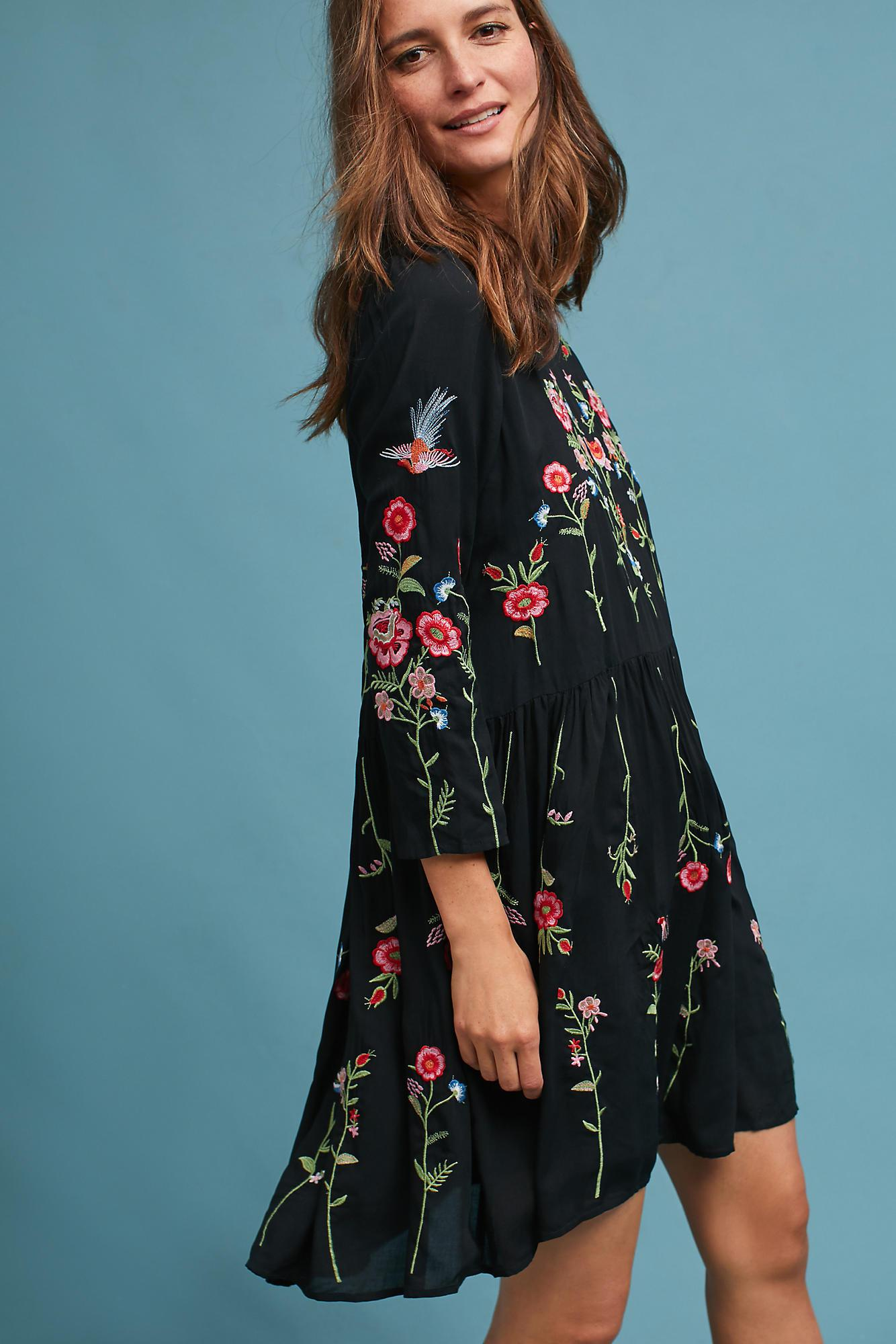 Lyst - Maeve Allison Embroidered Tunic Dress, Black in Black