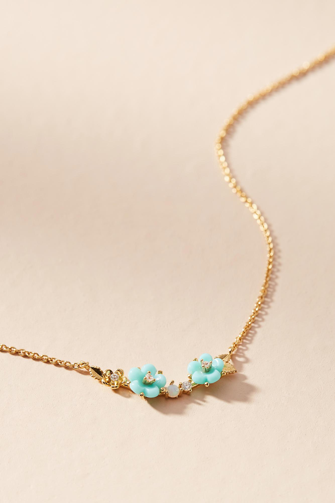Anthropologie Fredrica Floral Pendant Necklace 1ObcTi