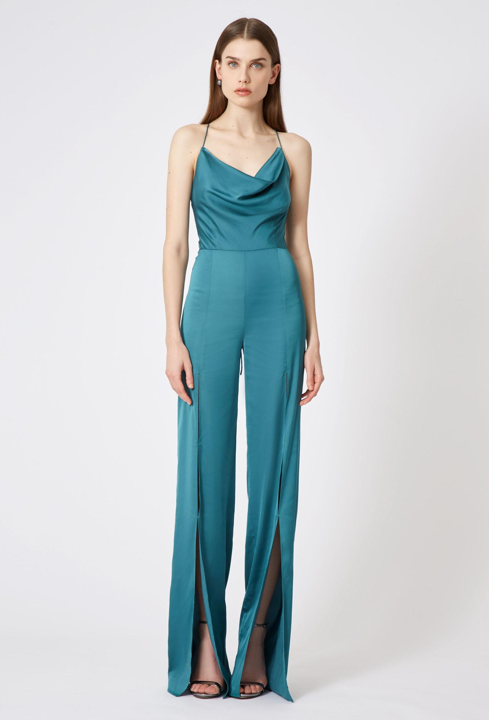 a0feb0d9eb24 Lyst - AQ AQ Finley Cowl Neck Jumpsuit in Blue