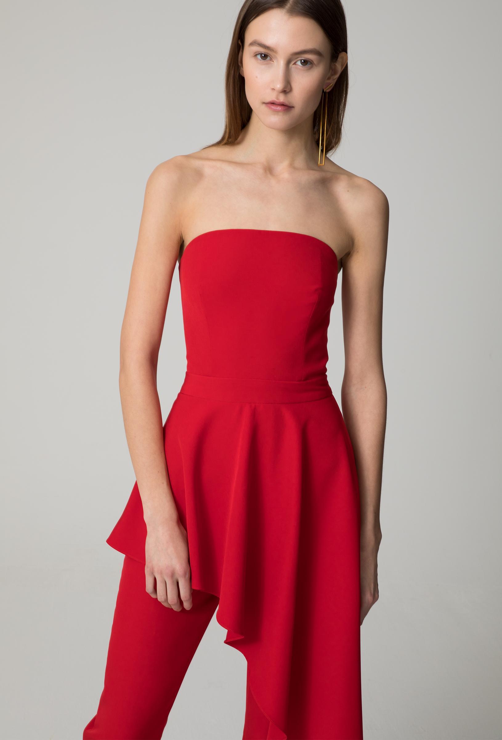 52b0ab84392 AQ AQ Adelia Strapless Jumpsuit in Red - Lyst