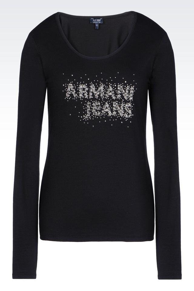 Armani jeans print t shirt in black lyst for Black armani t shirt