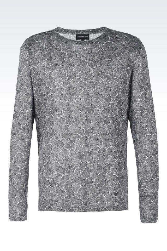 emporio armani crewneck sweater in black for men lyst. Black Bedroom Furniture Sets. Home Design Ideas