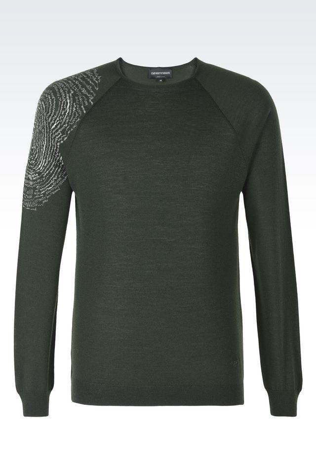 emporio armani crewneck sweater in green for men lyst. Black Bedroom Furniture Sets. Home Design Ideas