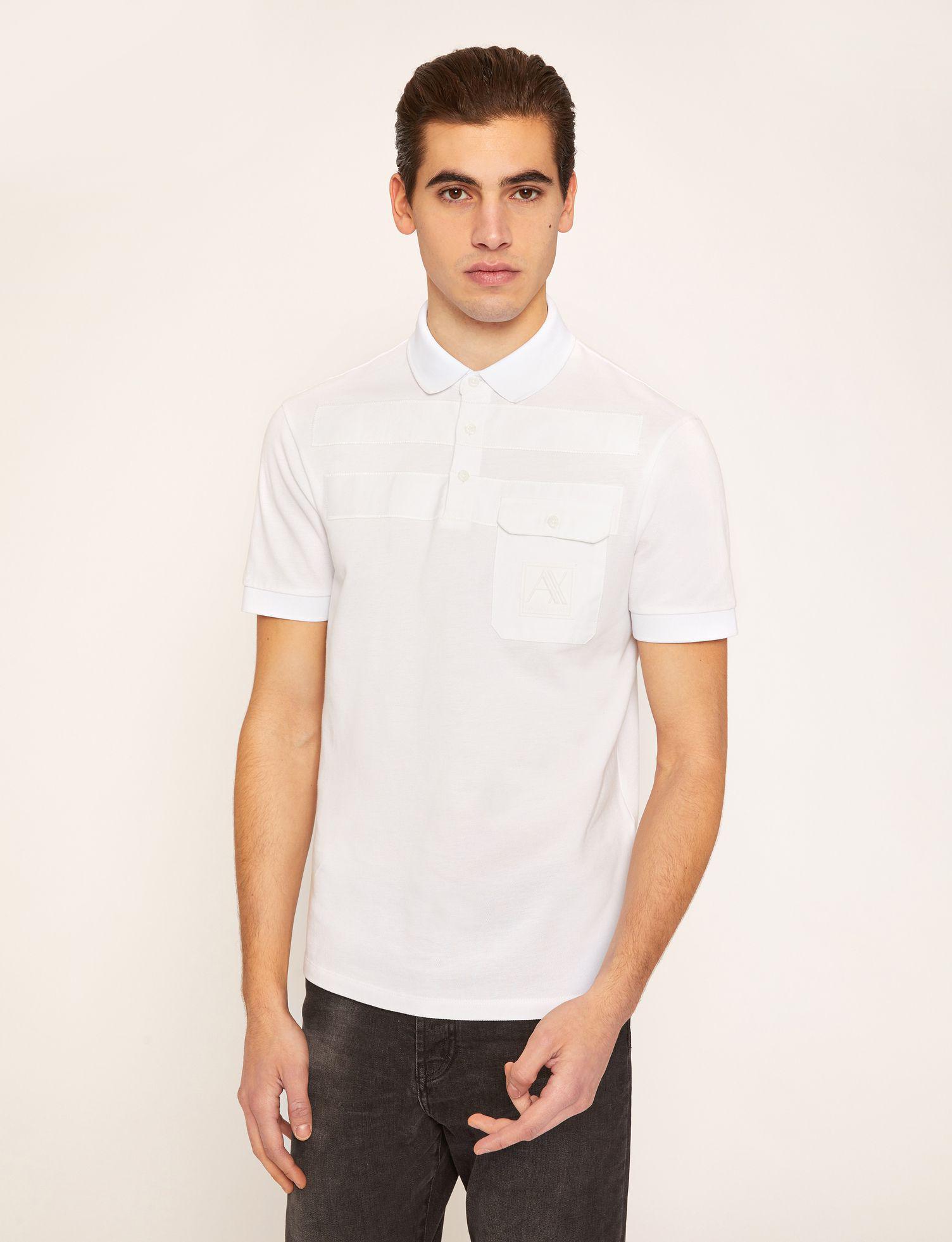 3dd1f4ecc989f Lyst - Armani Exchange Tonal Stripe Pieced Pocket Polo in White for Men