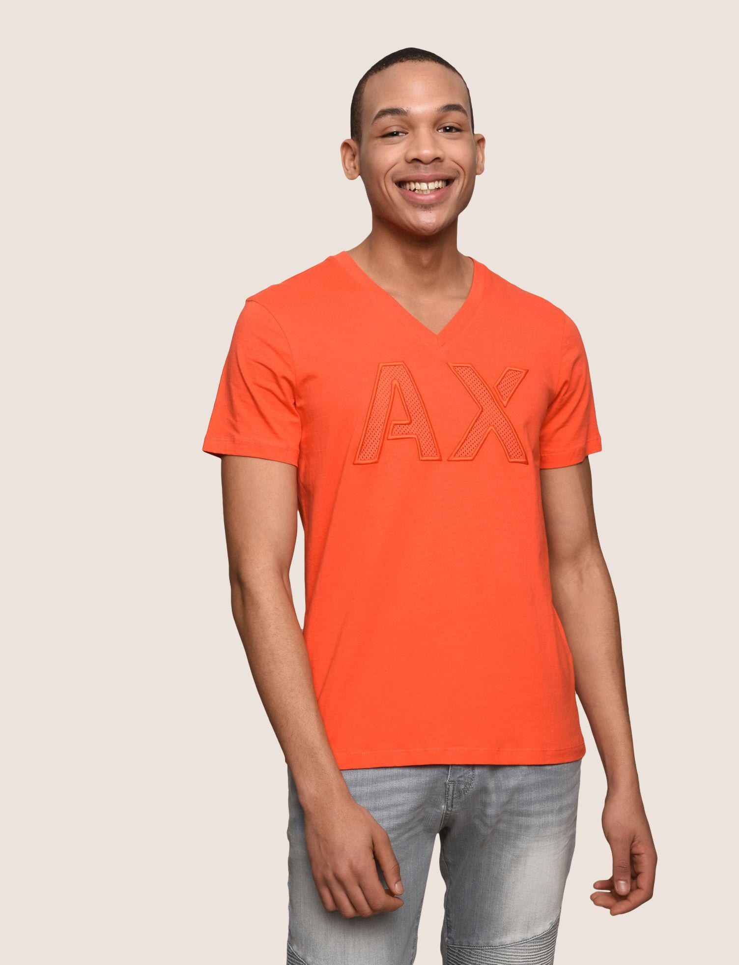 ce0f82ae368af8 Lyst - Armani Exchange Mesh Logo V-neck Tee in Orange for Men