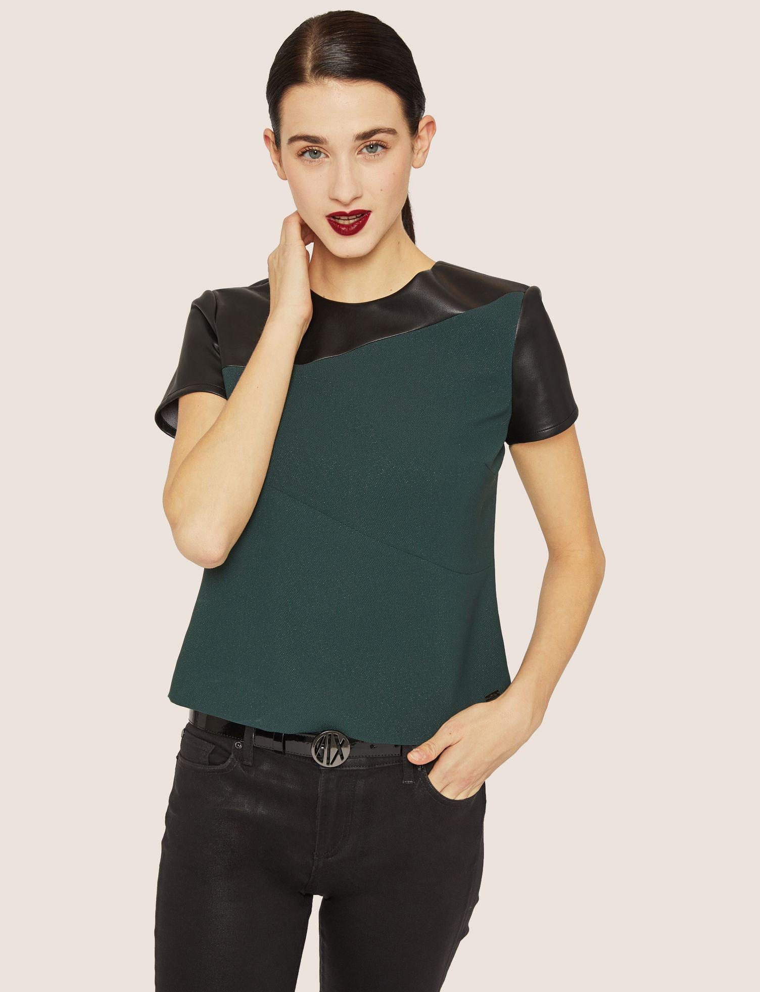 1c21362e209 Lyst - Armani Exchange Paneled Faux-leather Yoke Tee in Green