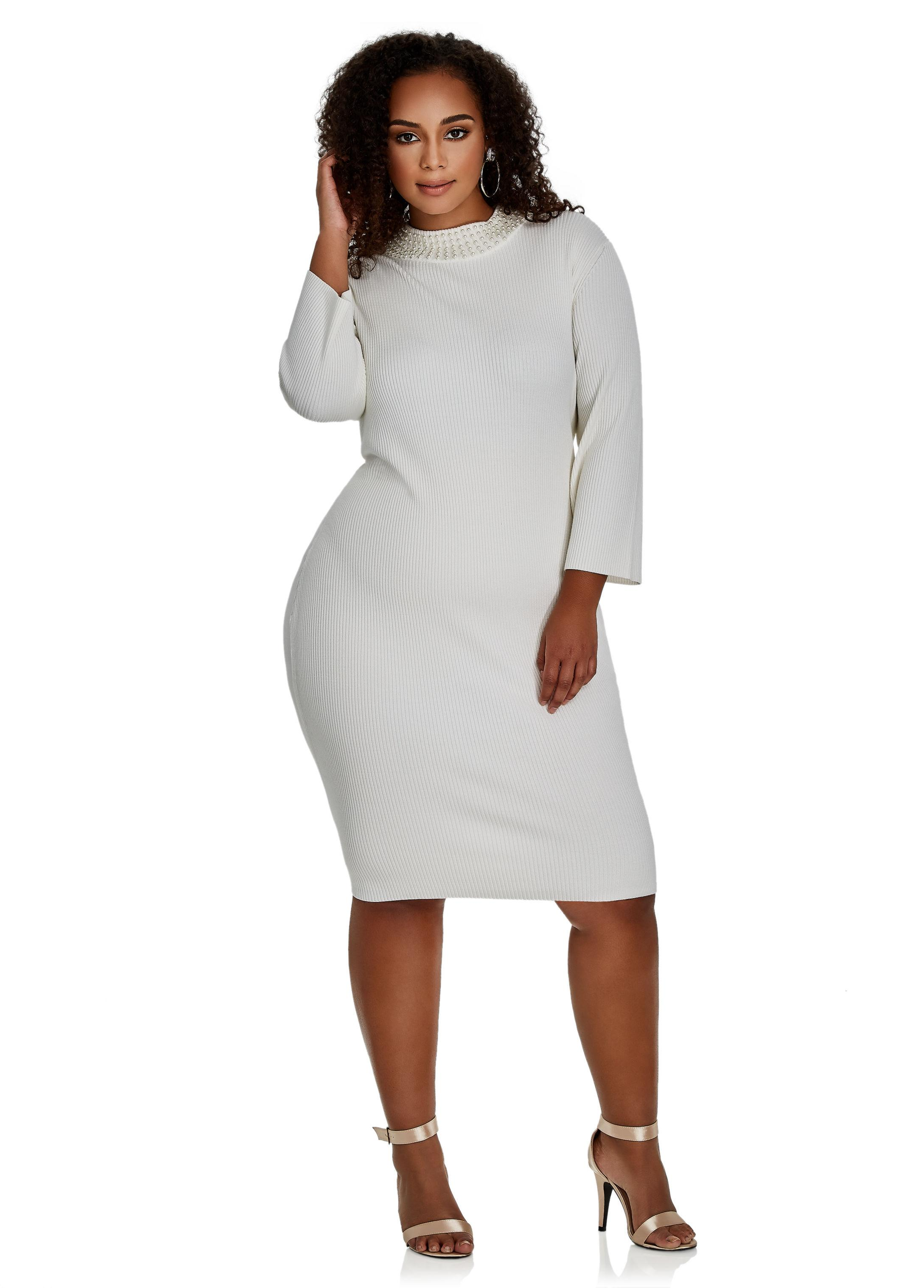 2671bf430c Lyst - Ashley Stewart Pearl Mock Neck Ribbed Sweater Dress in Gray