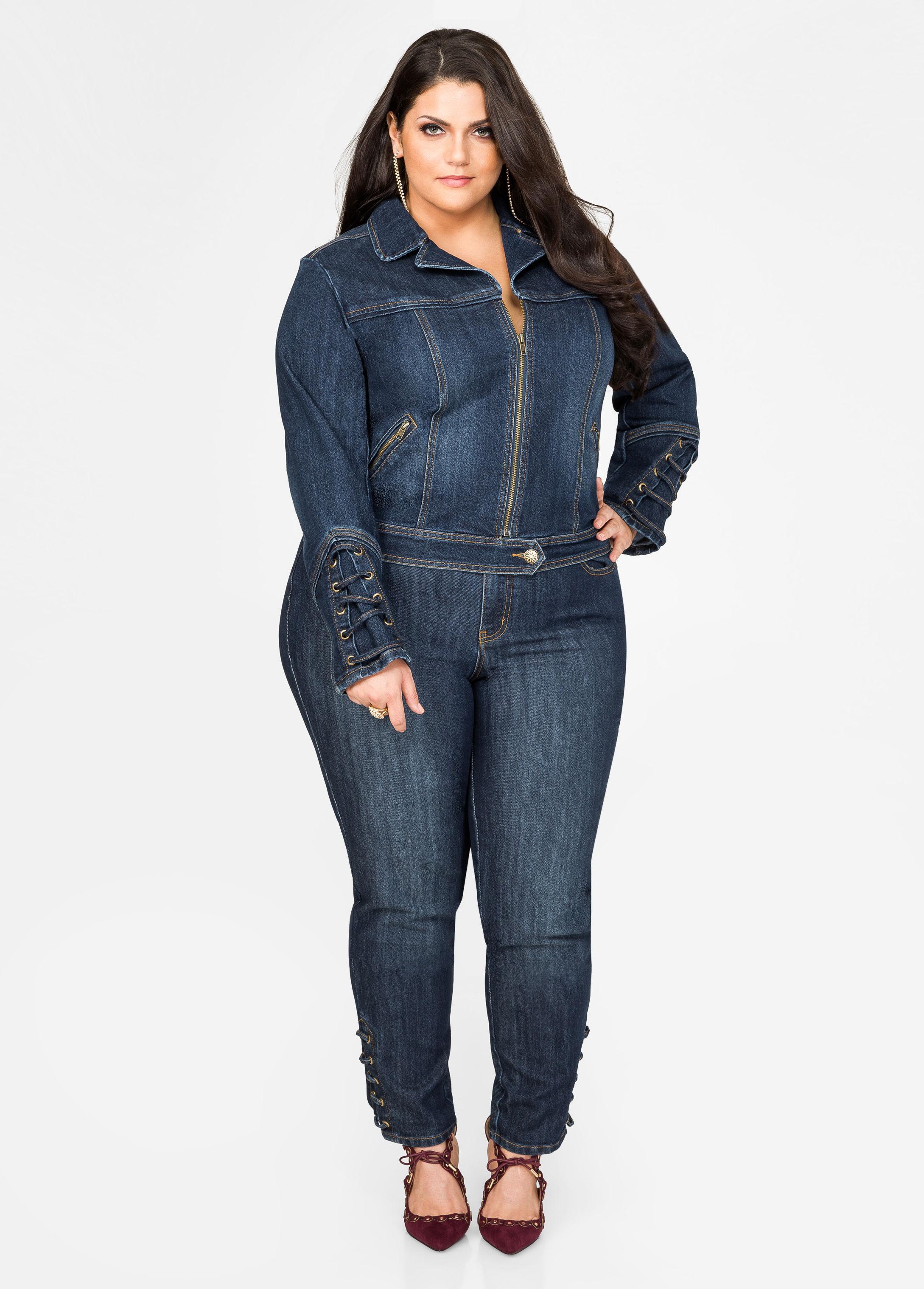 Ashley stewart Lace-up Detail Skinny Jean in Blue