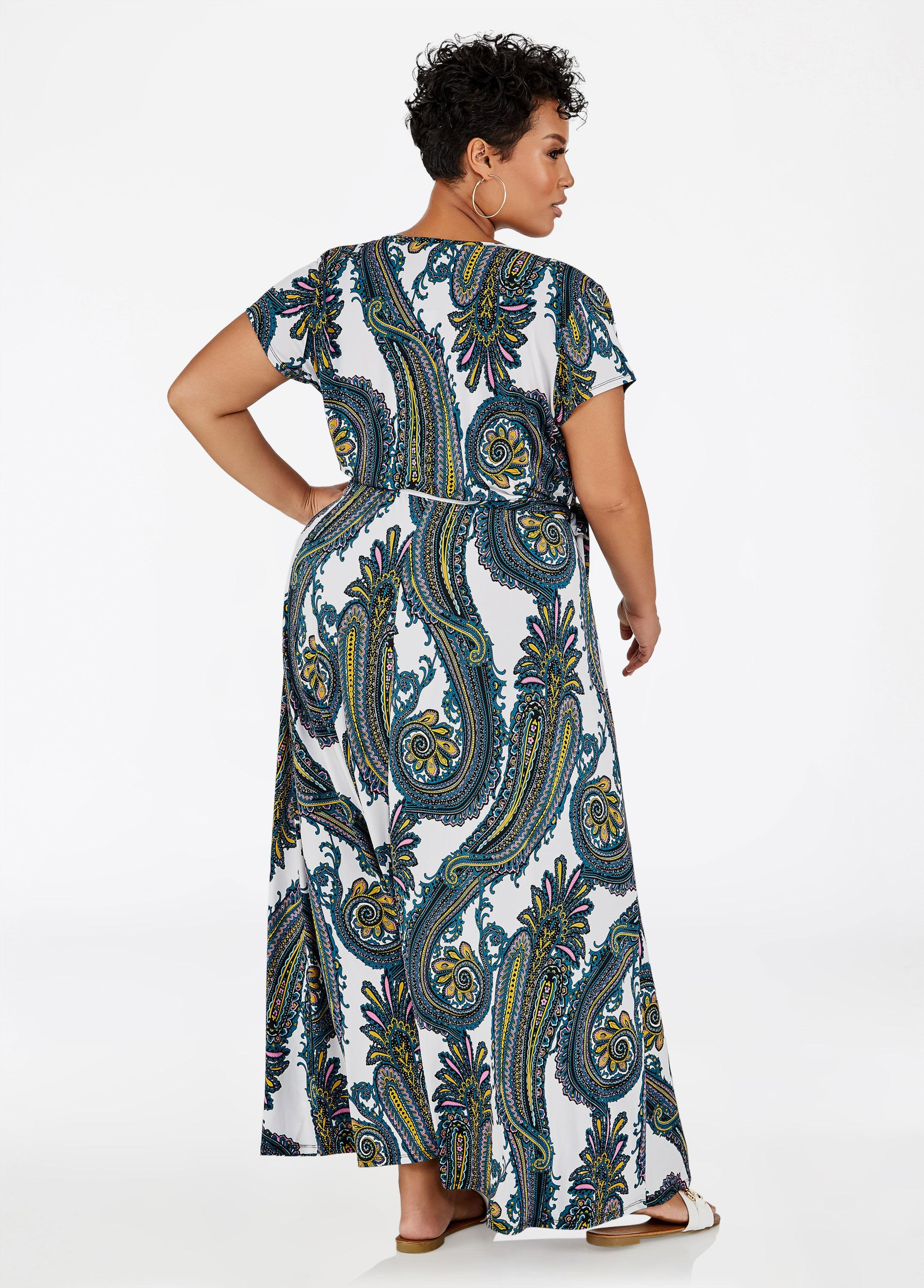 e746c589b8c Lyst - Ashley Stewart Paisley Faux Wrap Maxi Dress in Blue