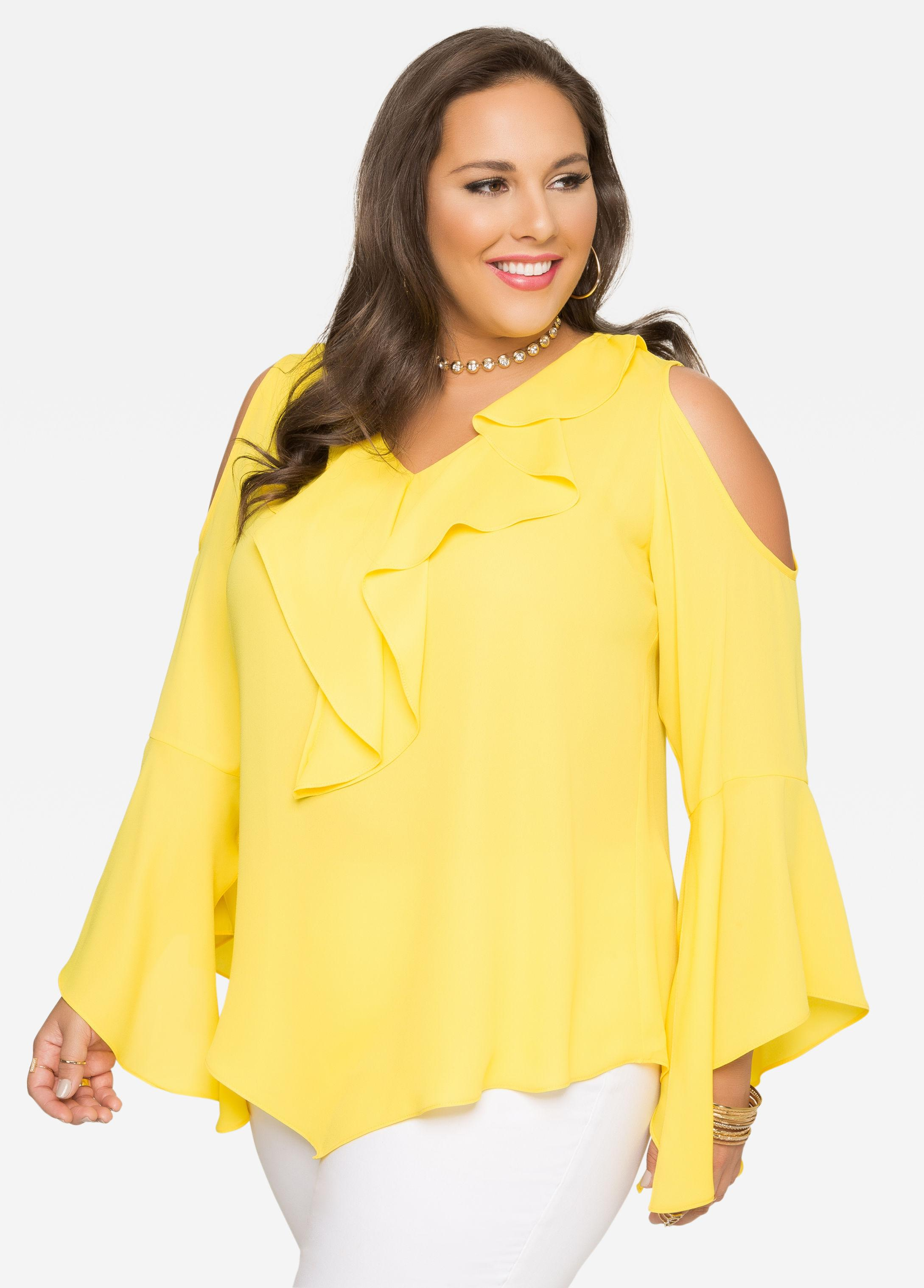 Plus Size Yellow Ruffle Blouse