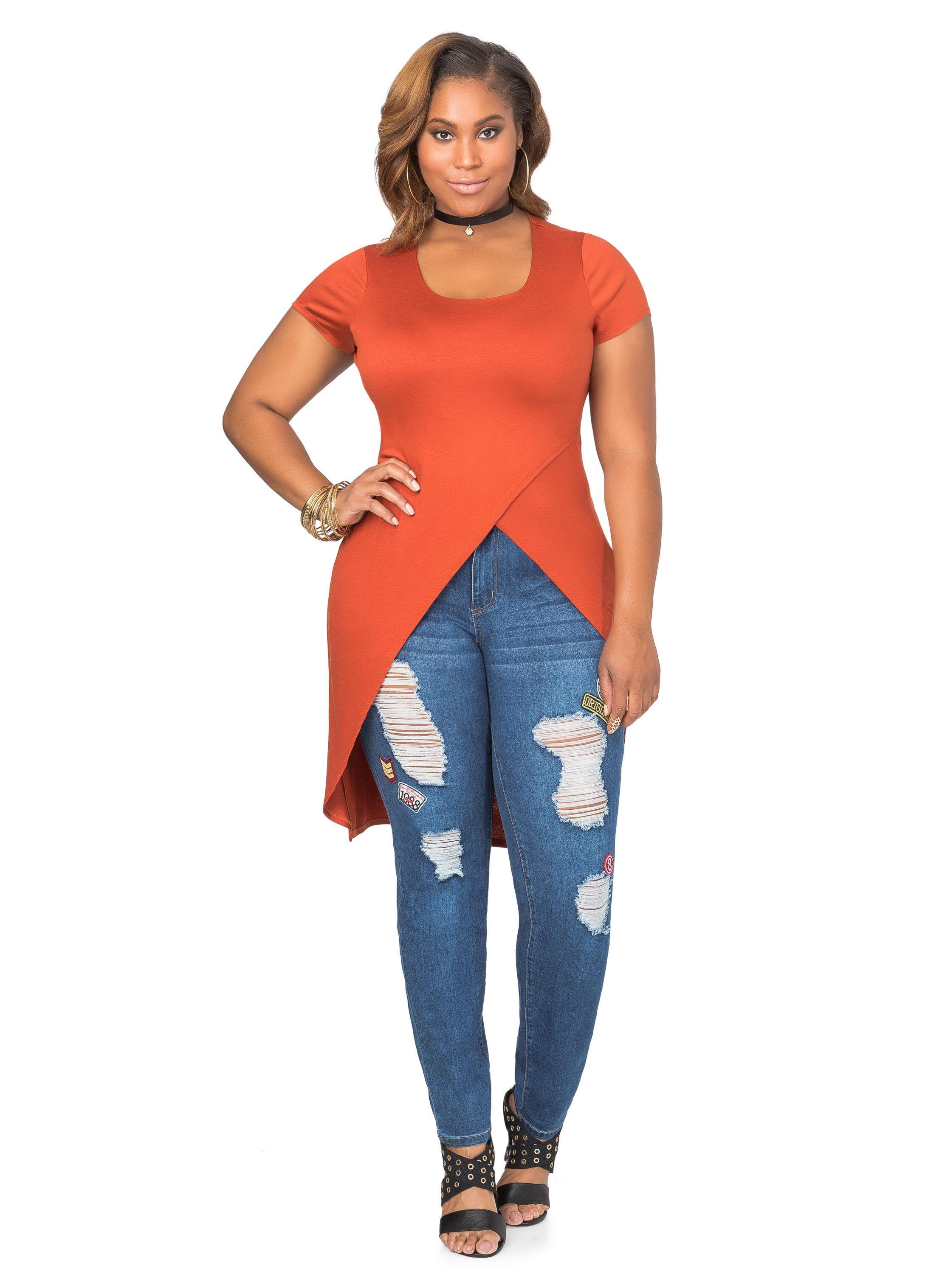 d5e83ce4 Ashley Stewart Crossover Duster T-shirt in Orange - Lyst