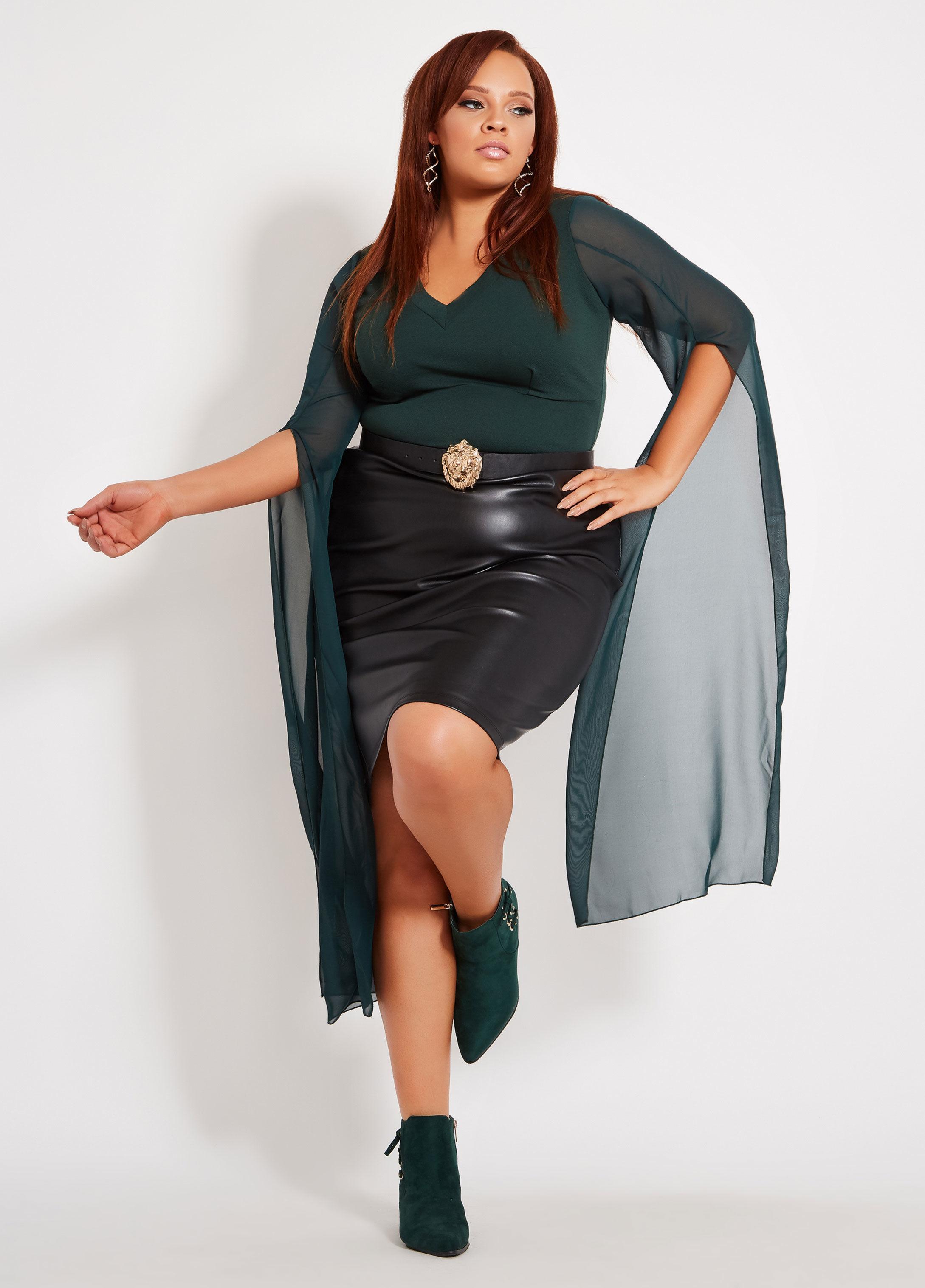 9693f96f30b Lyst - Ashley Stewart Plus Size V Neck Chiffon Drama Sleeve Top in Black