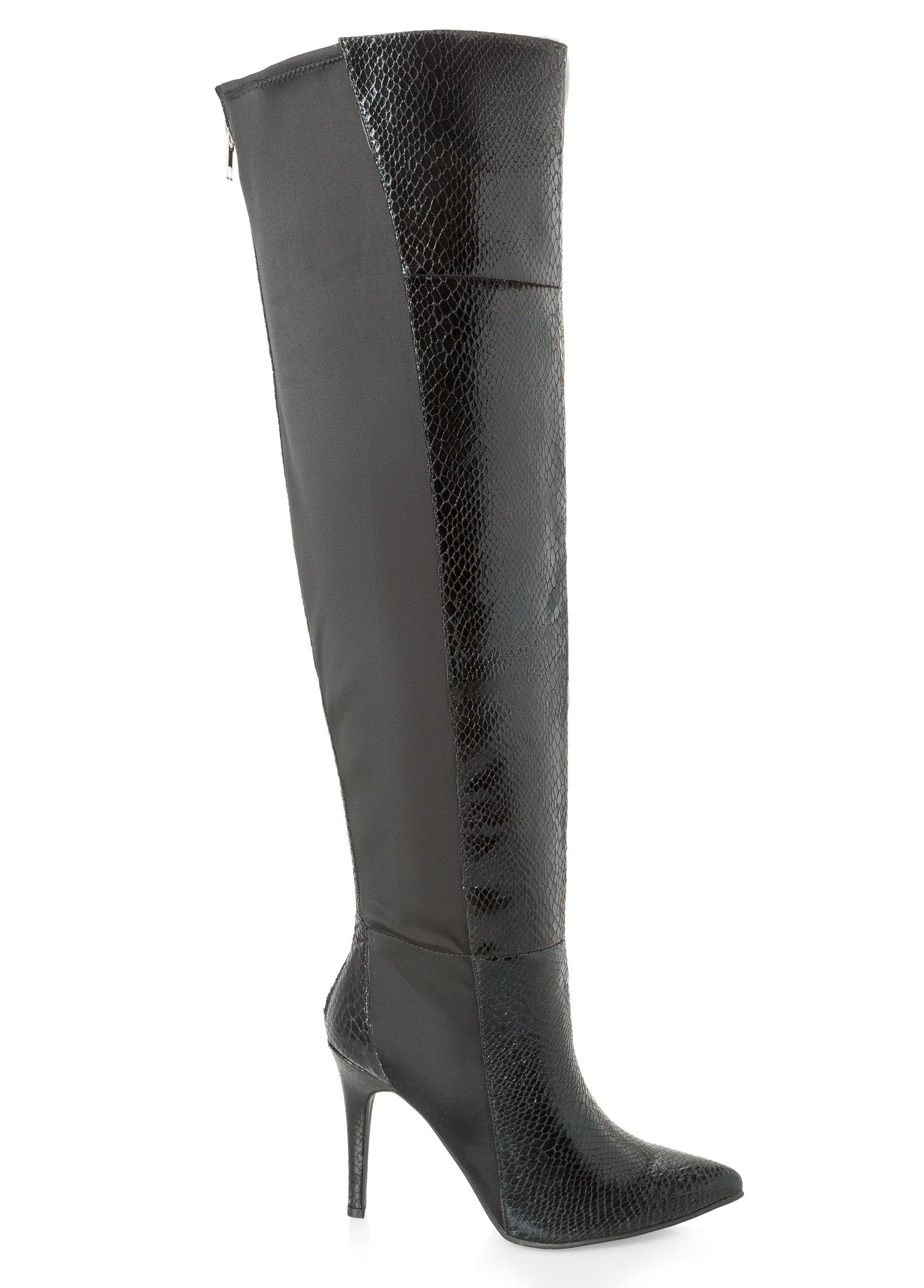 340f6d98a9a Lyst - Ashley Stewart Snake Over The Knee Boot - Wide Calf Wide ...