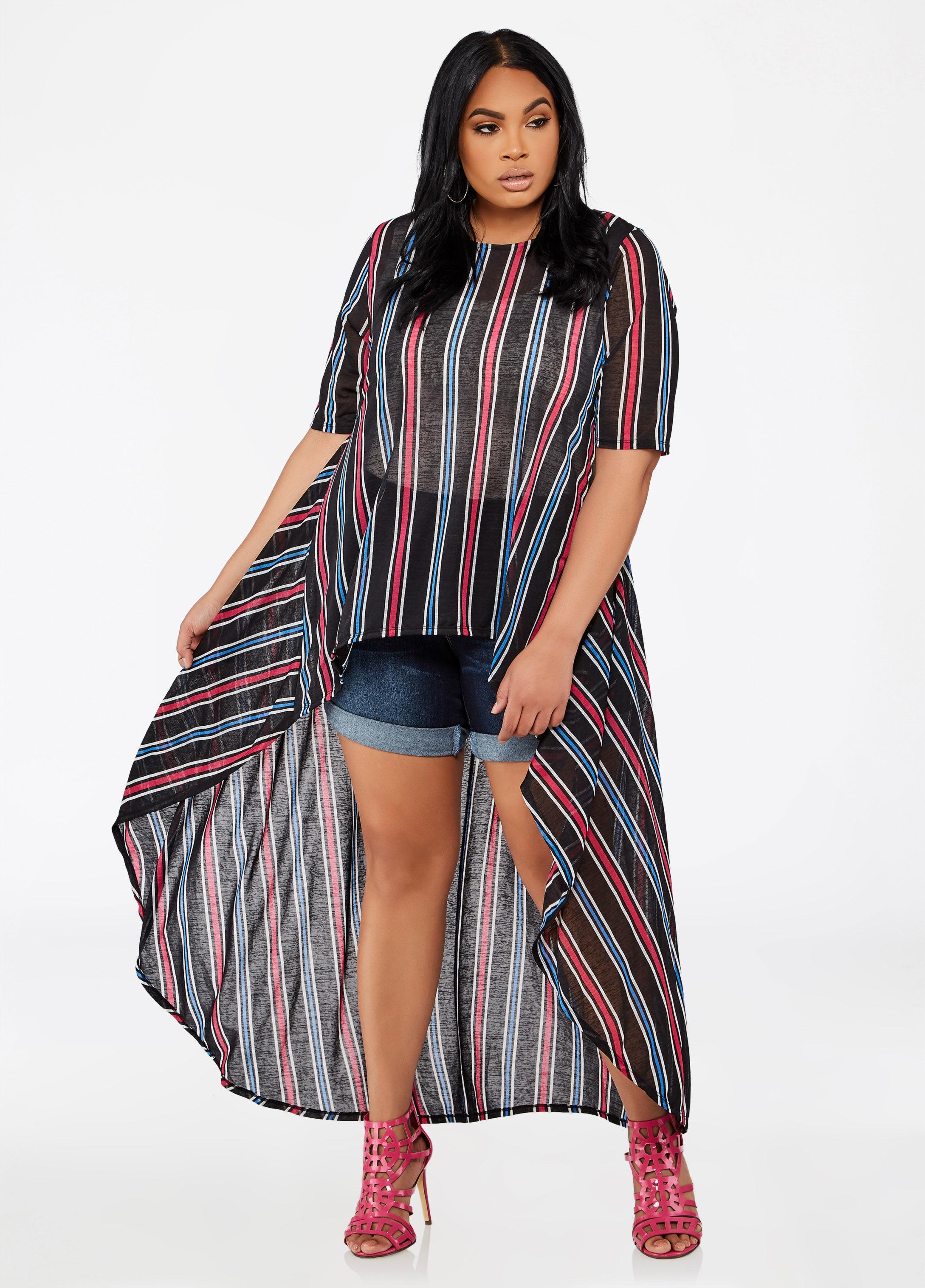 34521349077 Lyst - Ashley Stewart Plus Size Striped Hi Lo Maxi Duster in Black