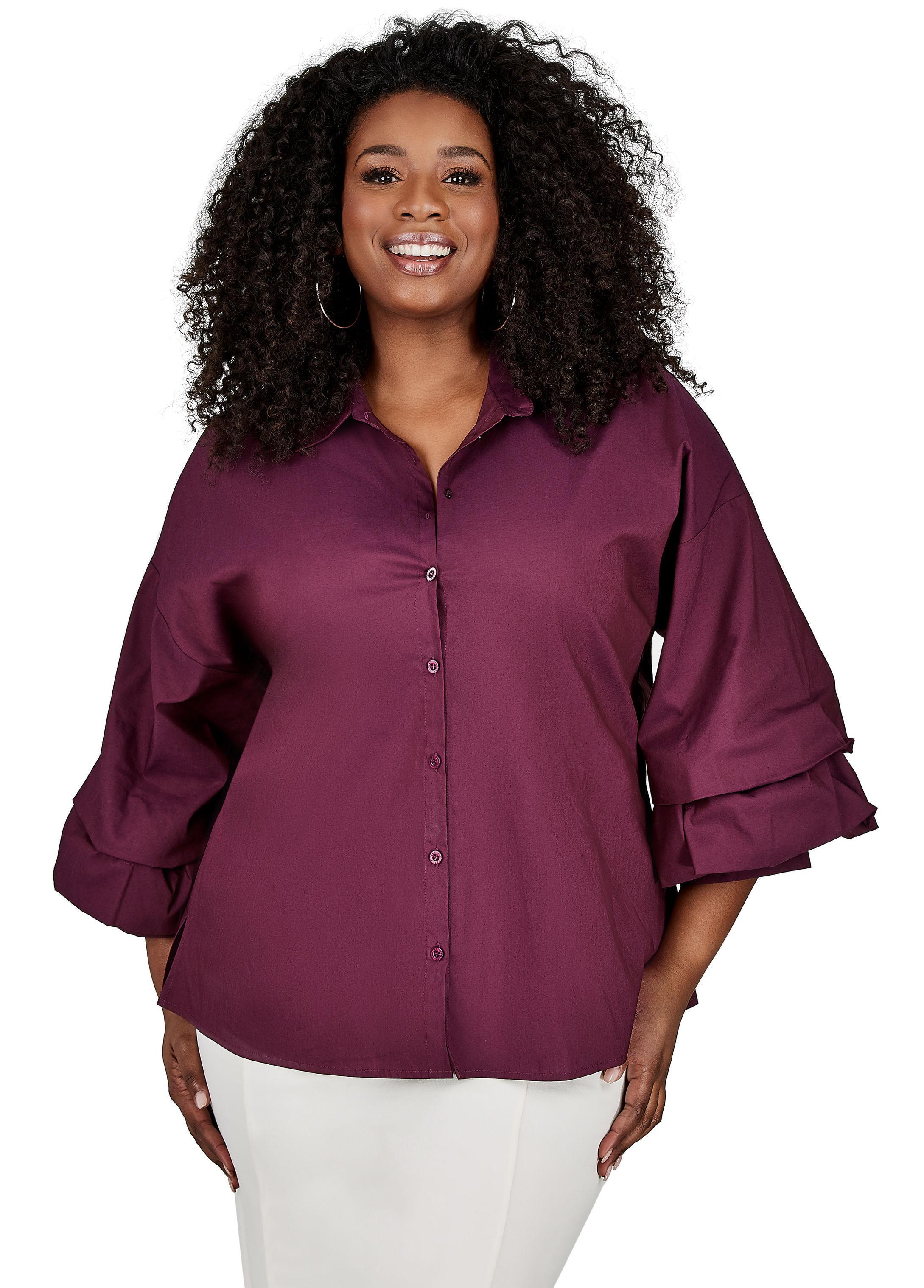 30657520cbe Lyst - Ashley Stewart Layer Sleeve Button Shirt in Purple