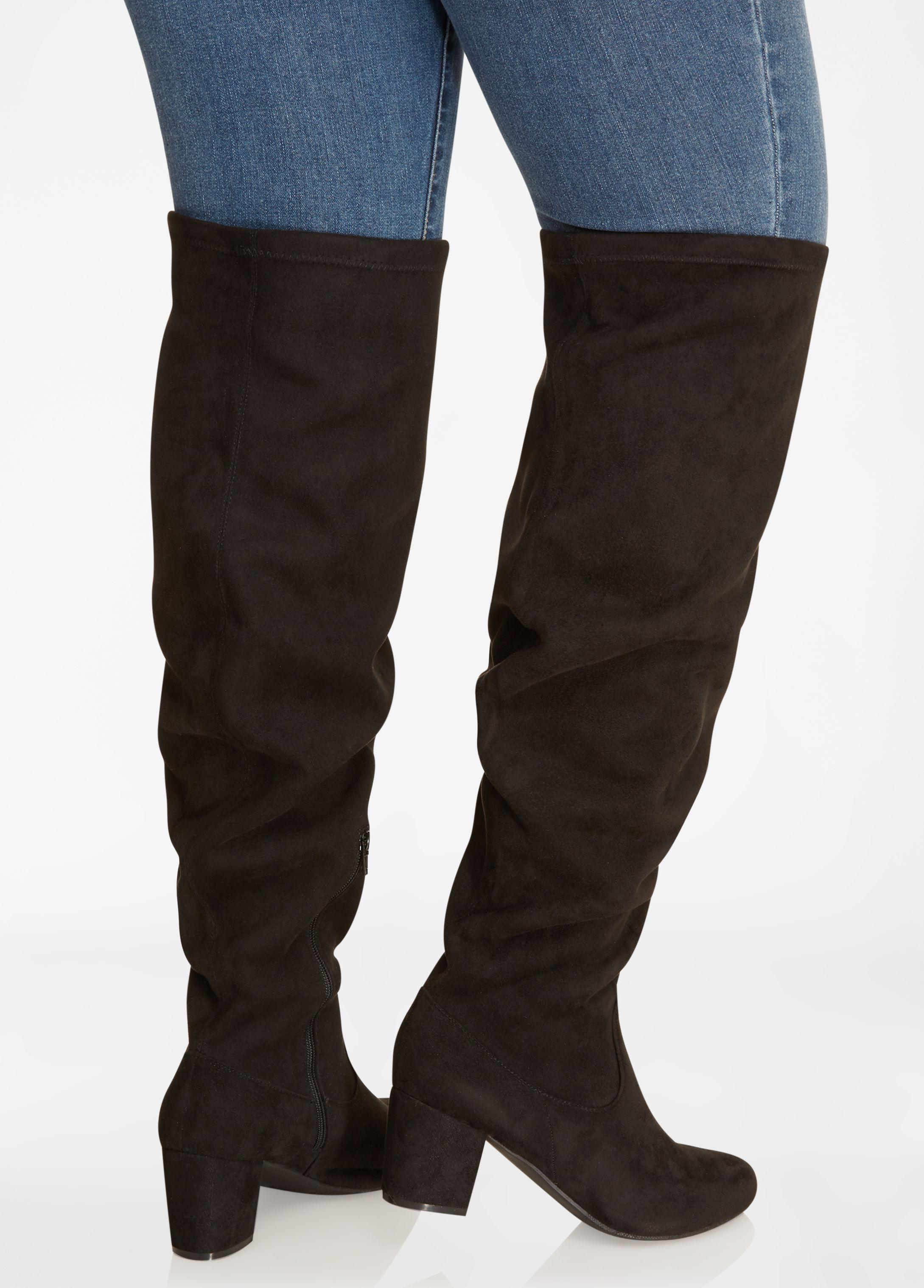 63247b5138e Ashley Stewart Over-the-knee Faux Suede Boots - Wide Width - Wide ...