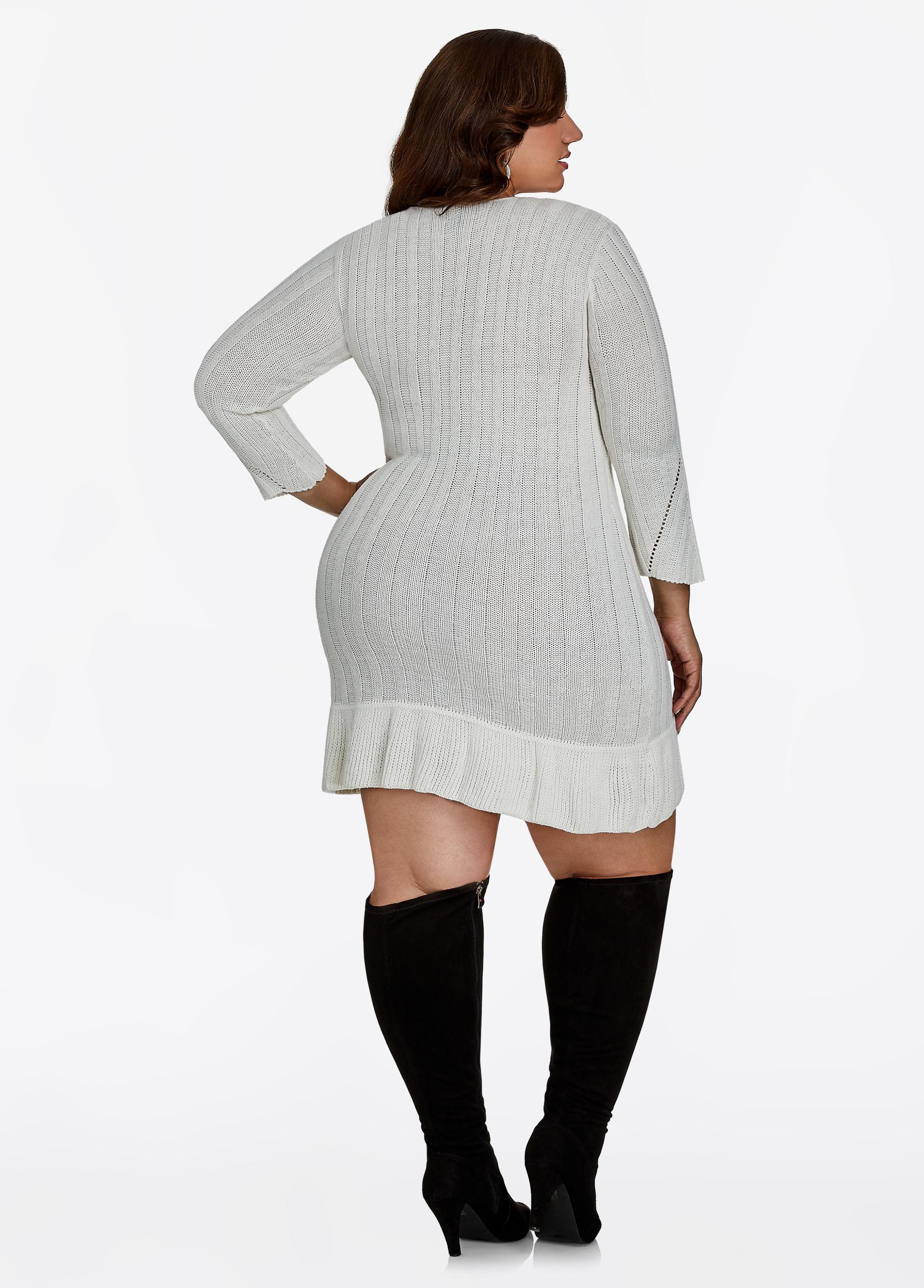 Lyst Ashley Stewart Lurex Sweater Dress In Gray