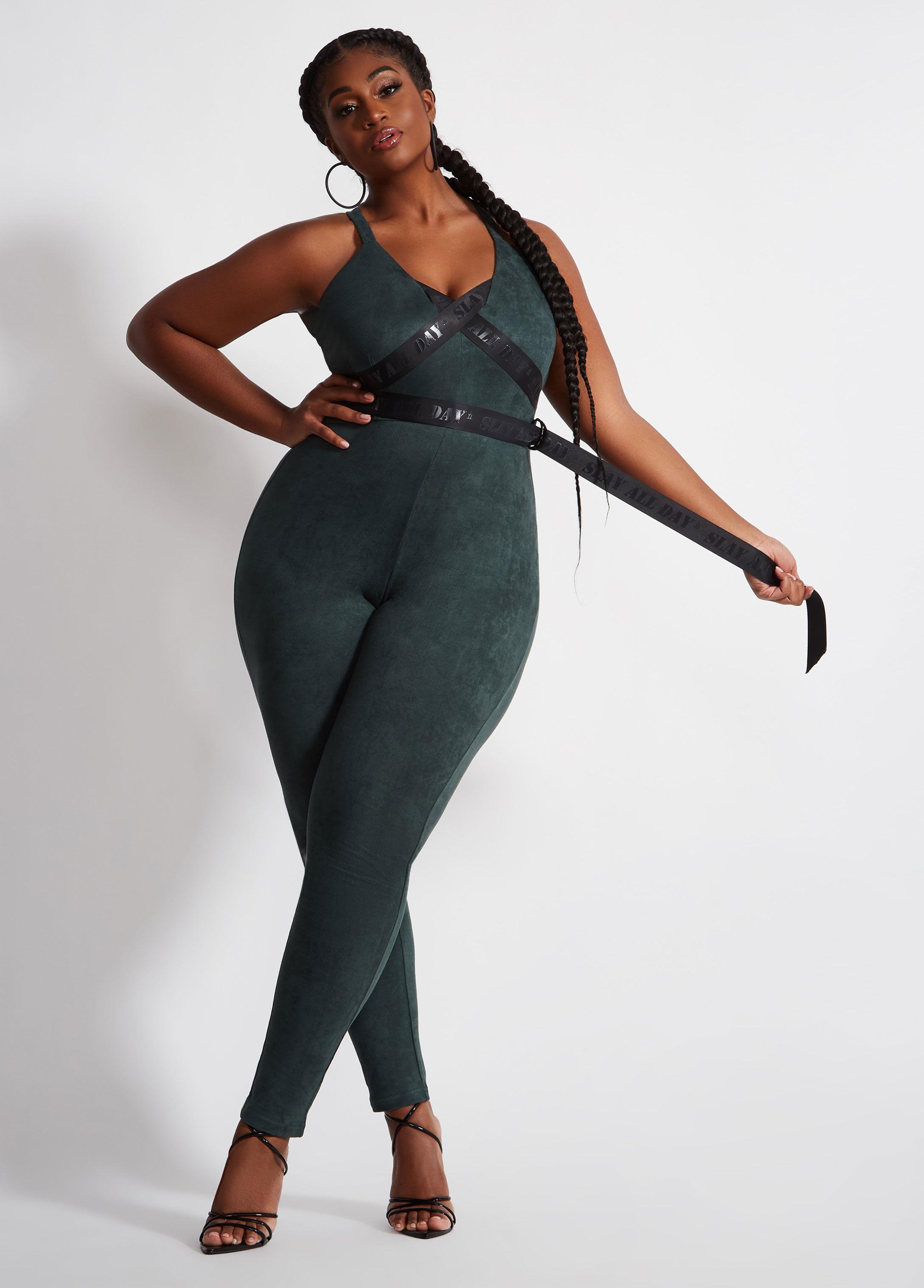 f1be663f908e Lyst - Ashley Stewart Plus Size La La Anthony Microfiber Suede Jumpsuit