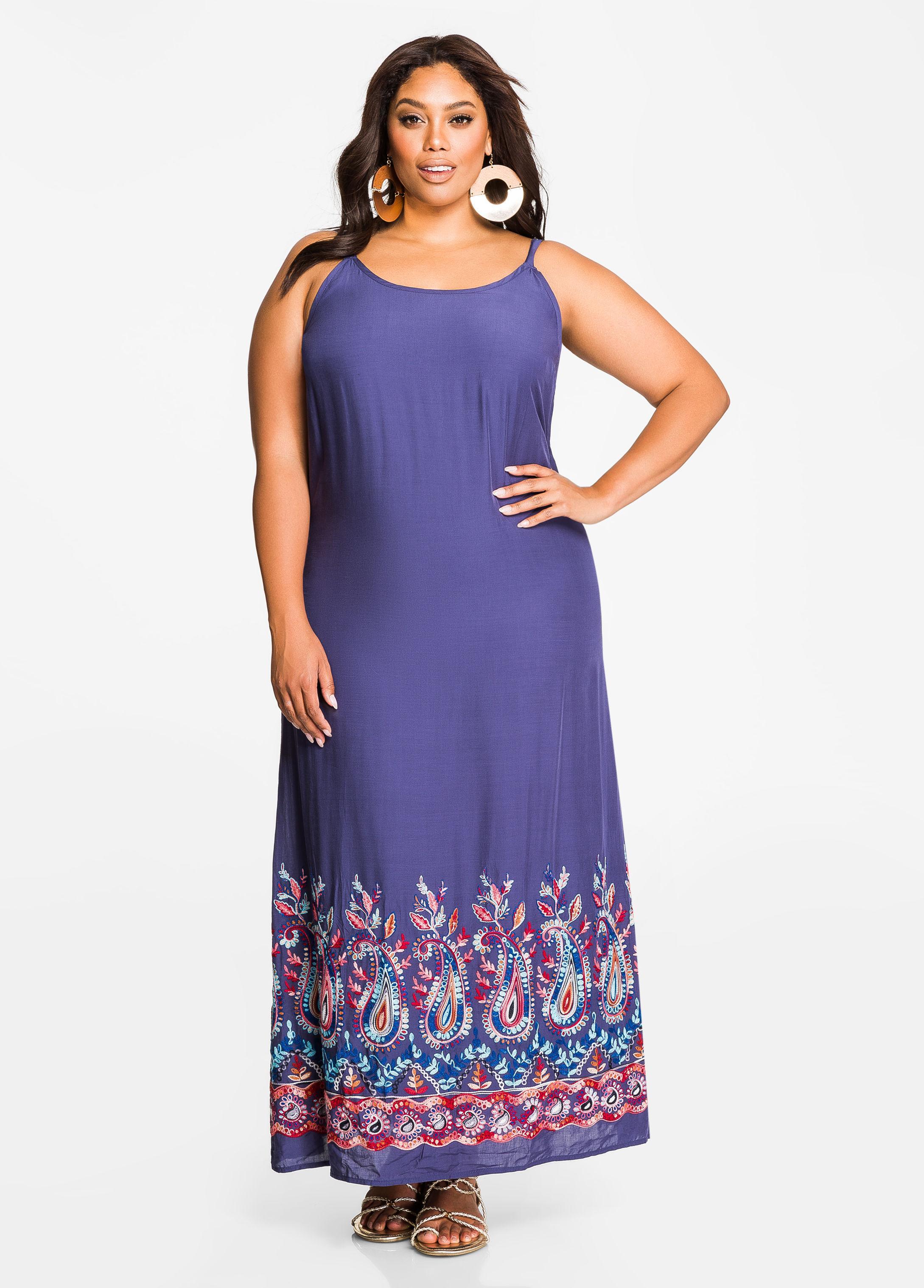 Lyst - Ashley Stewart Embroidered Hem Maxi Dress in Blue