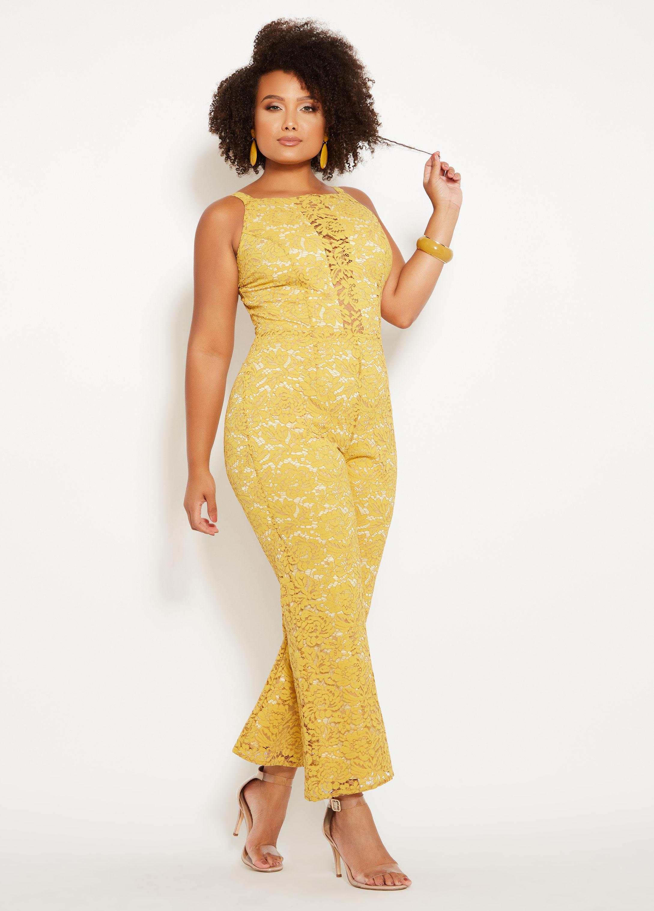 67949b28368 Lyst - Ashley Stewart Plus Size Floral Lace Jumpsuit in Metallic