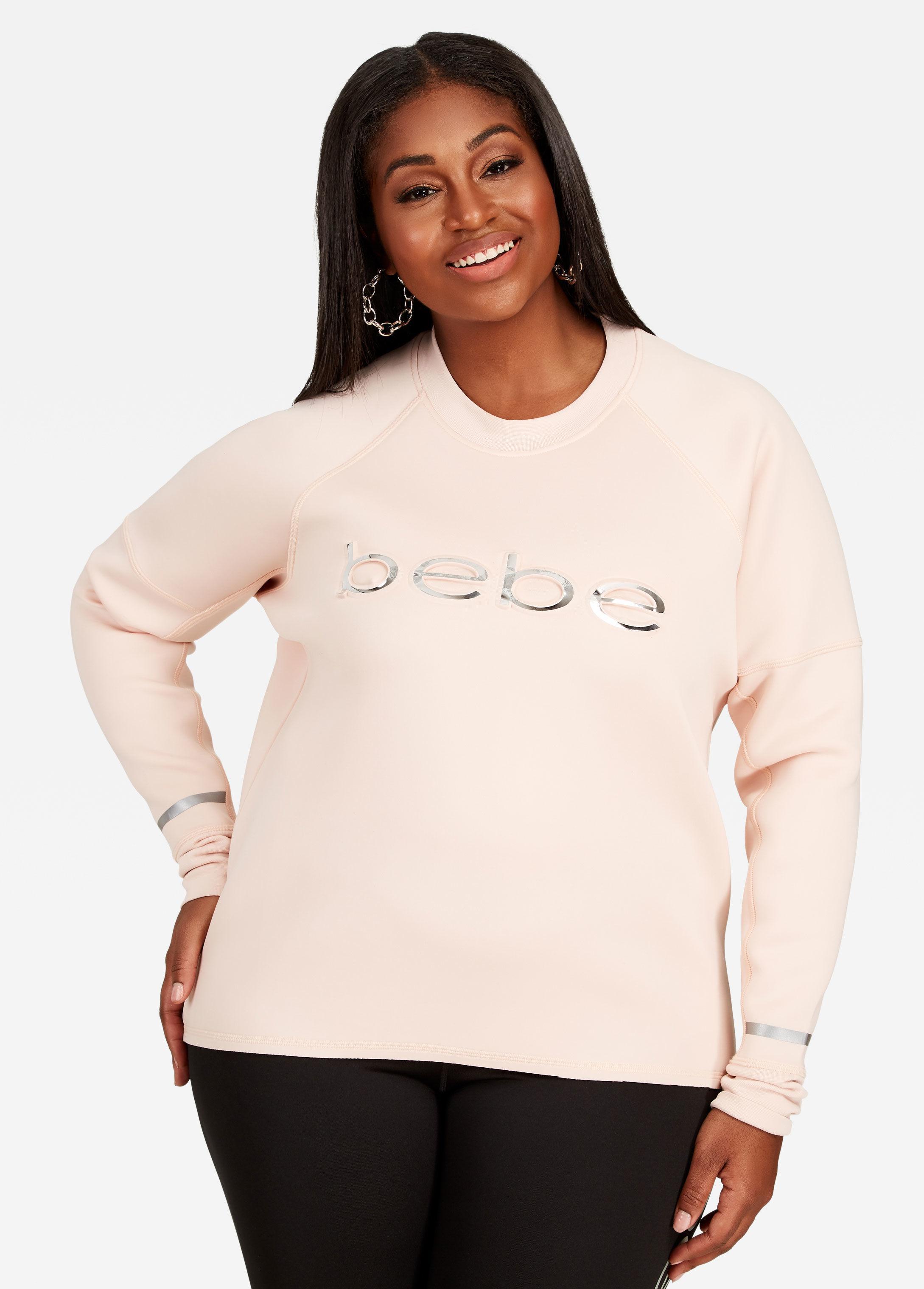 7c3eda93a85 Lyst - Ashley Stewart Plus Size Bebe Long Sleeve Scuba Top in Pink