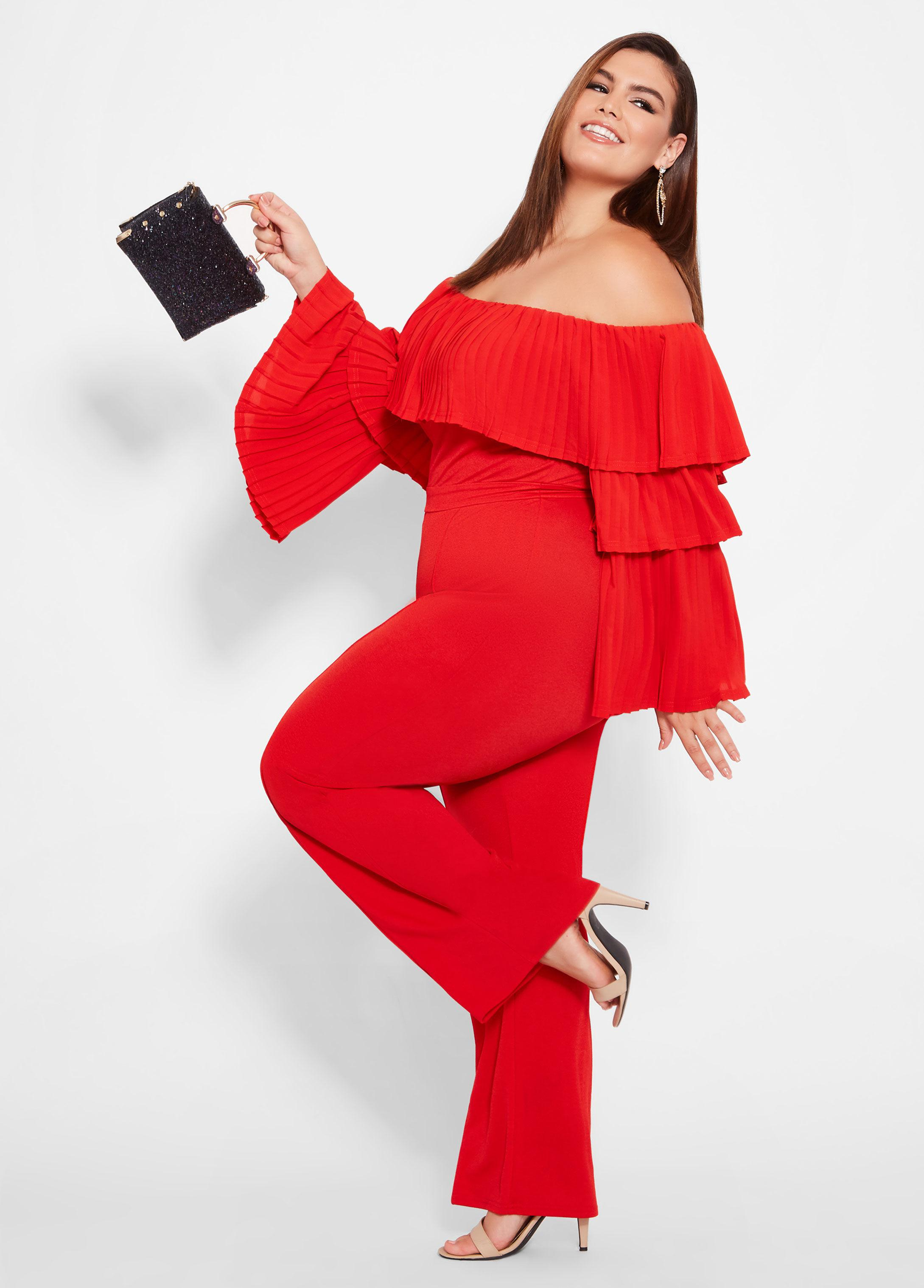Lyst Ashley Stewart Plus Size Tiered Off The Shoulder Jumpsuit In Red