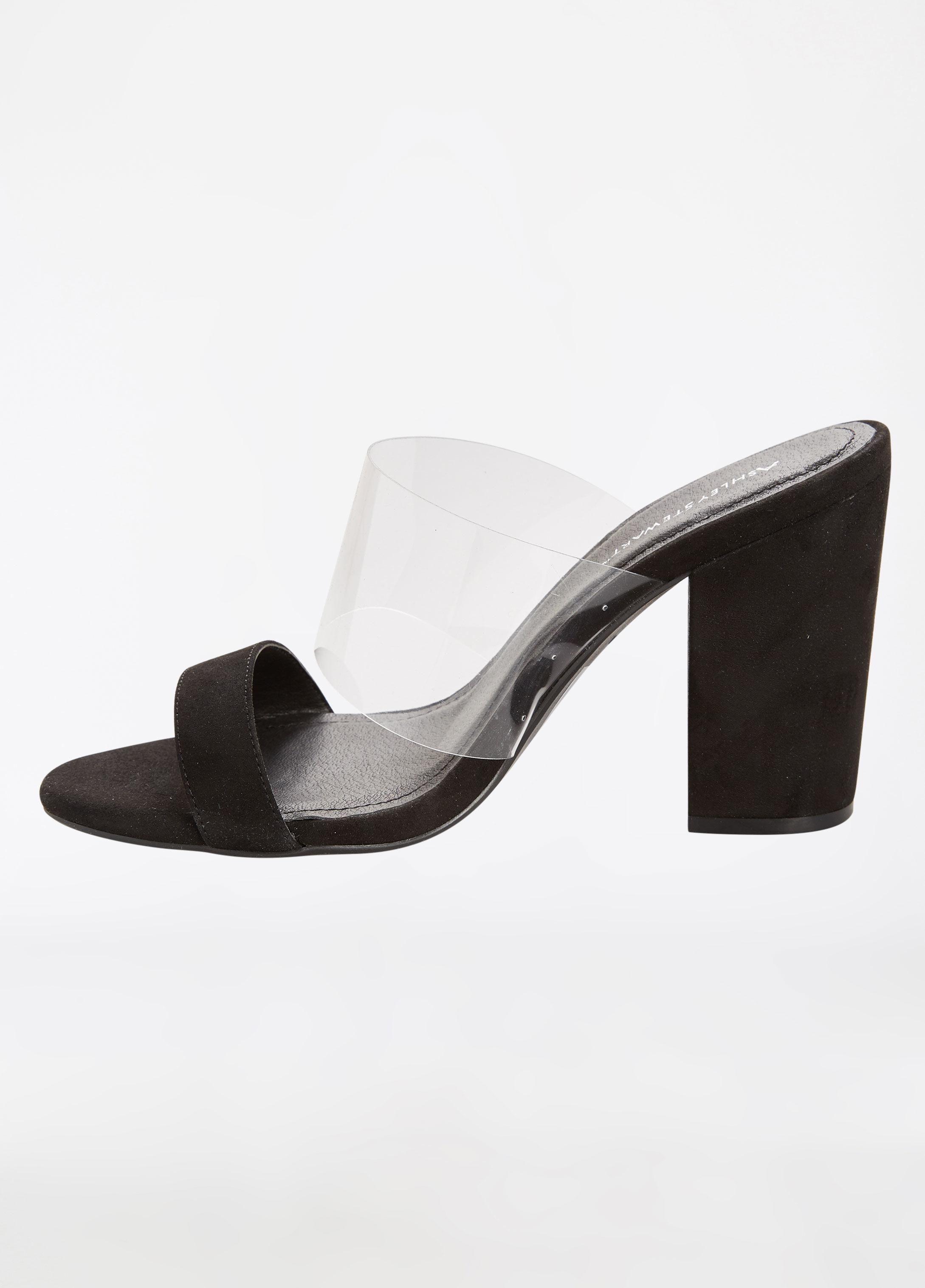 3b351394254 Lyst - Ashley Stewart Clear Strap Block Heel Sandal - Wide Width in ...