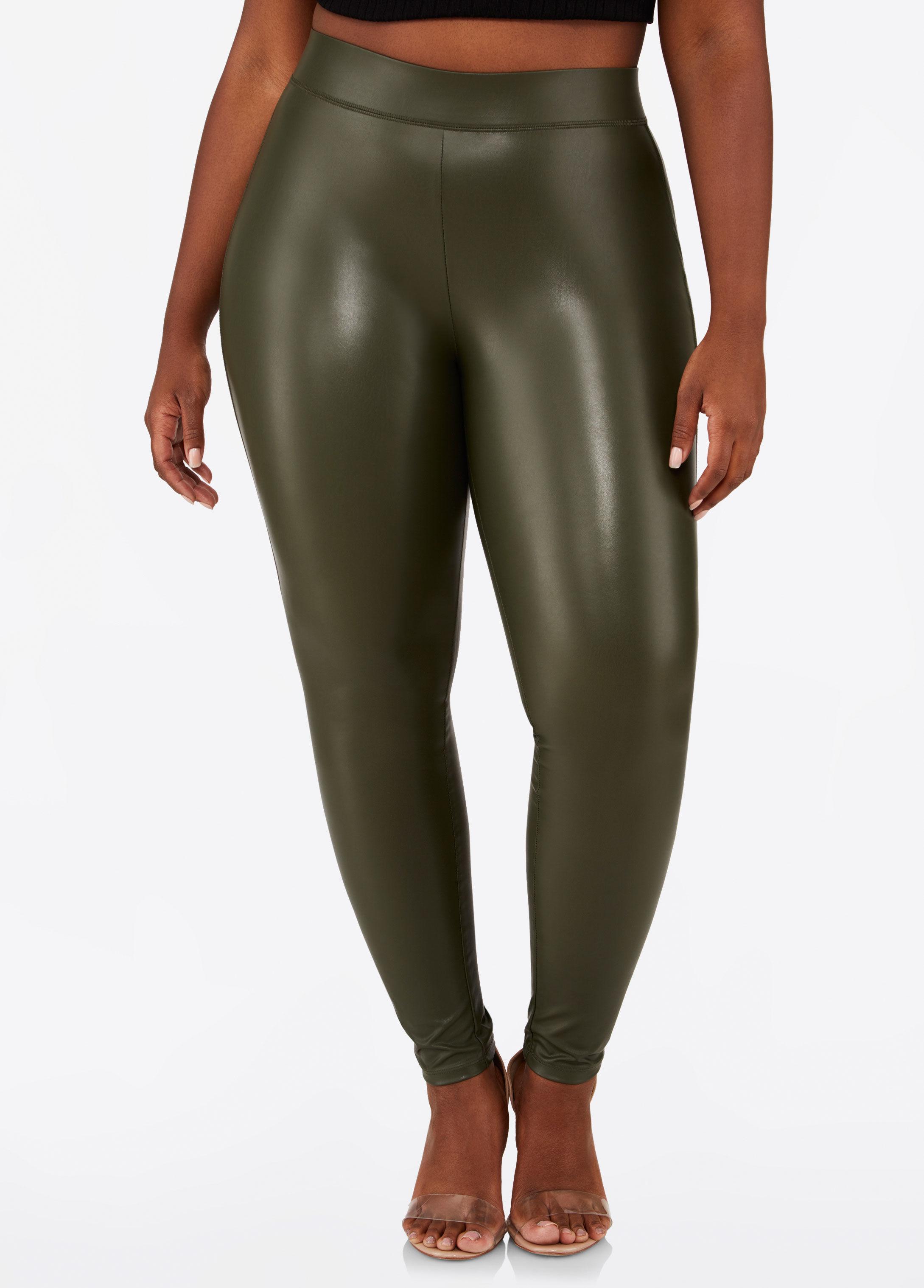 cf300fa5f5608 Lyst - Ashley Stewart Plus Size Faux Leather Pull On Legging in Green