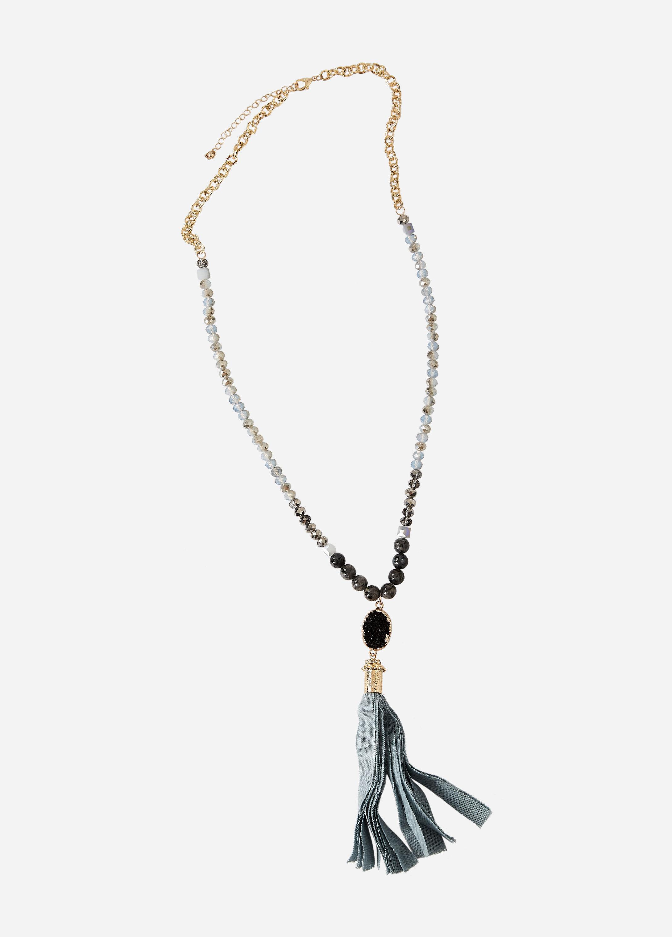 Ashley Stewart Druzy Beaded Gold Chain Necklace etPnbXM