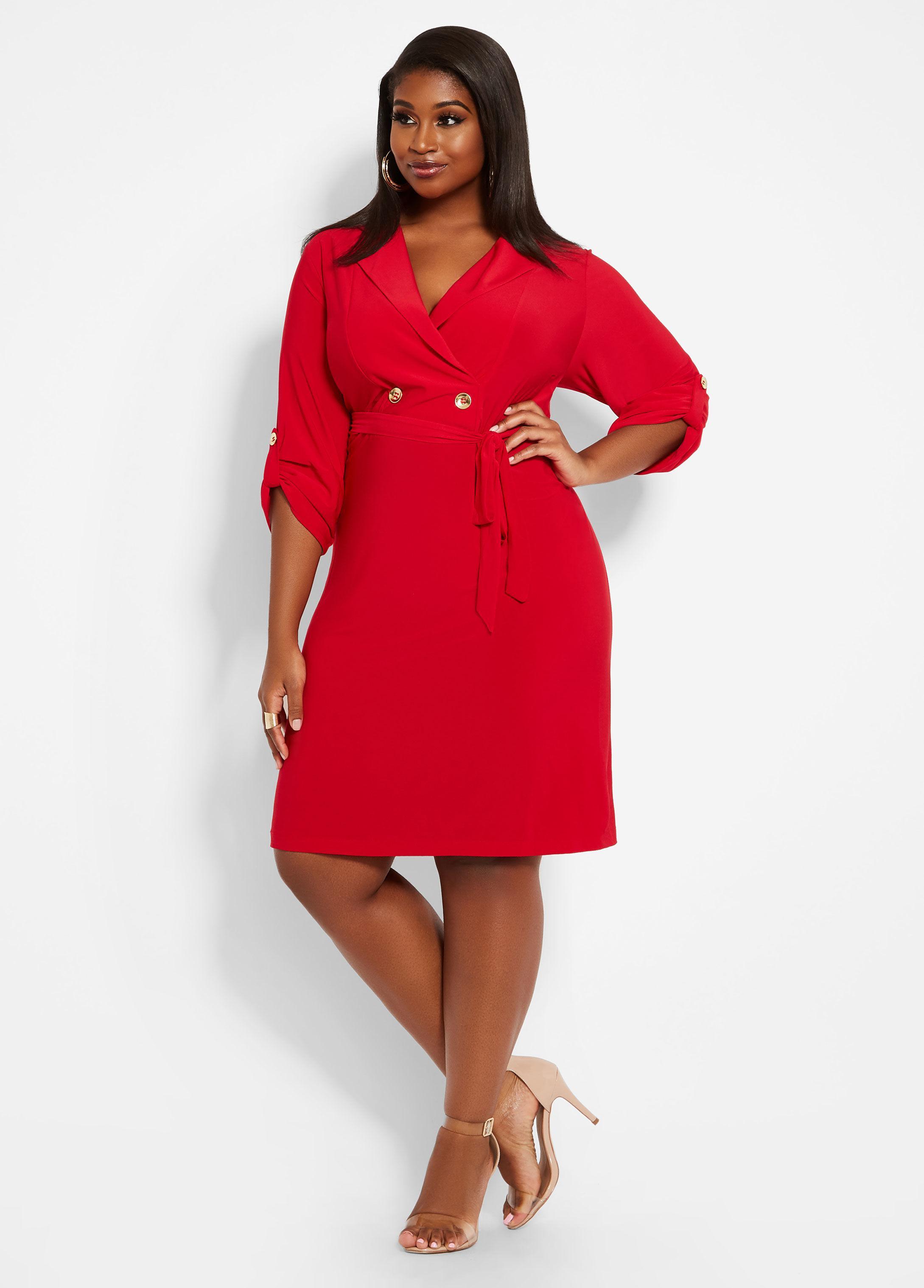 3425c95df86 Lyst - Ashley Stewart Plus Size Mock Coat Dress in Red
