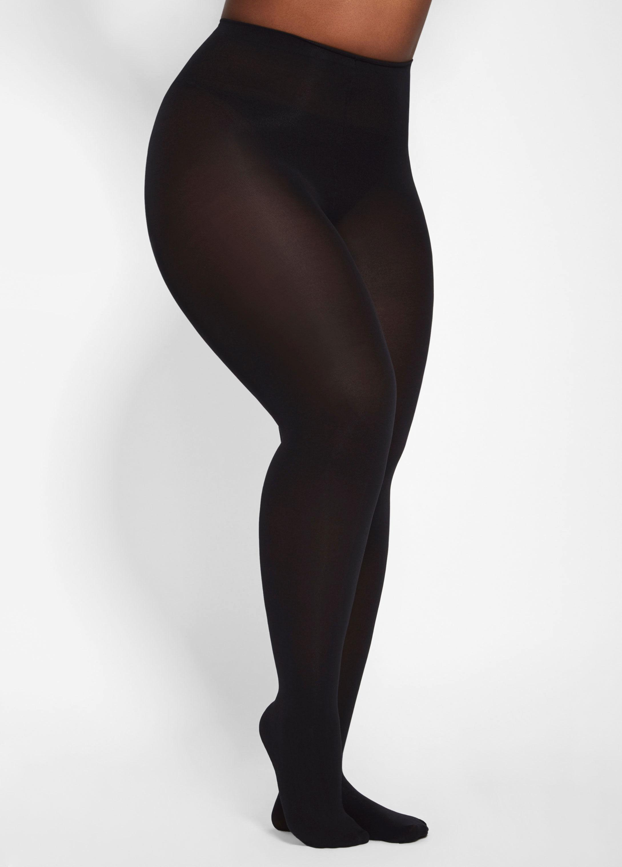 3da1039415d Lyst - Ashley Stewart Plus Size Basic Opaque Footed Tights in Black