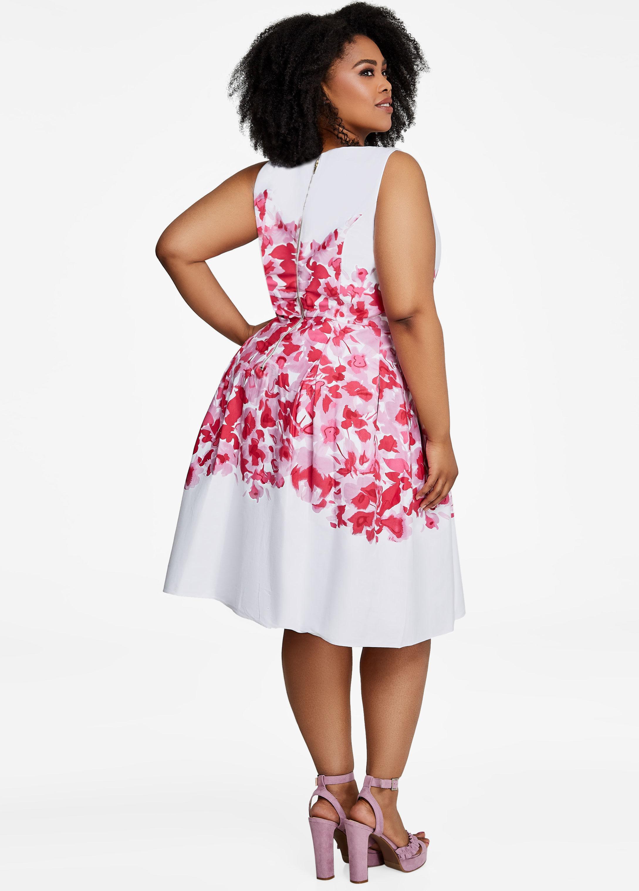 010cad485ac Lyst - Ashley Stewart Center Floral Fit N Flare Dress
