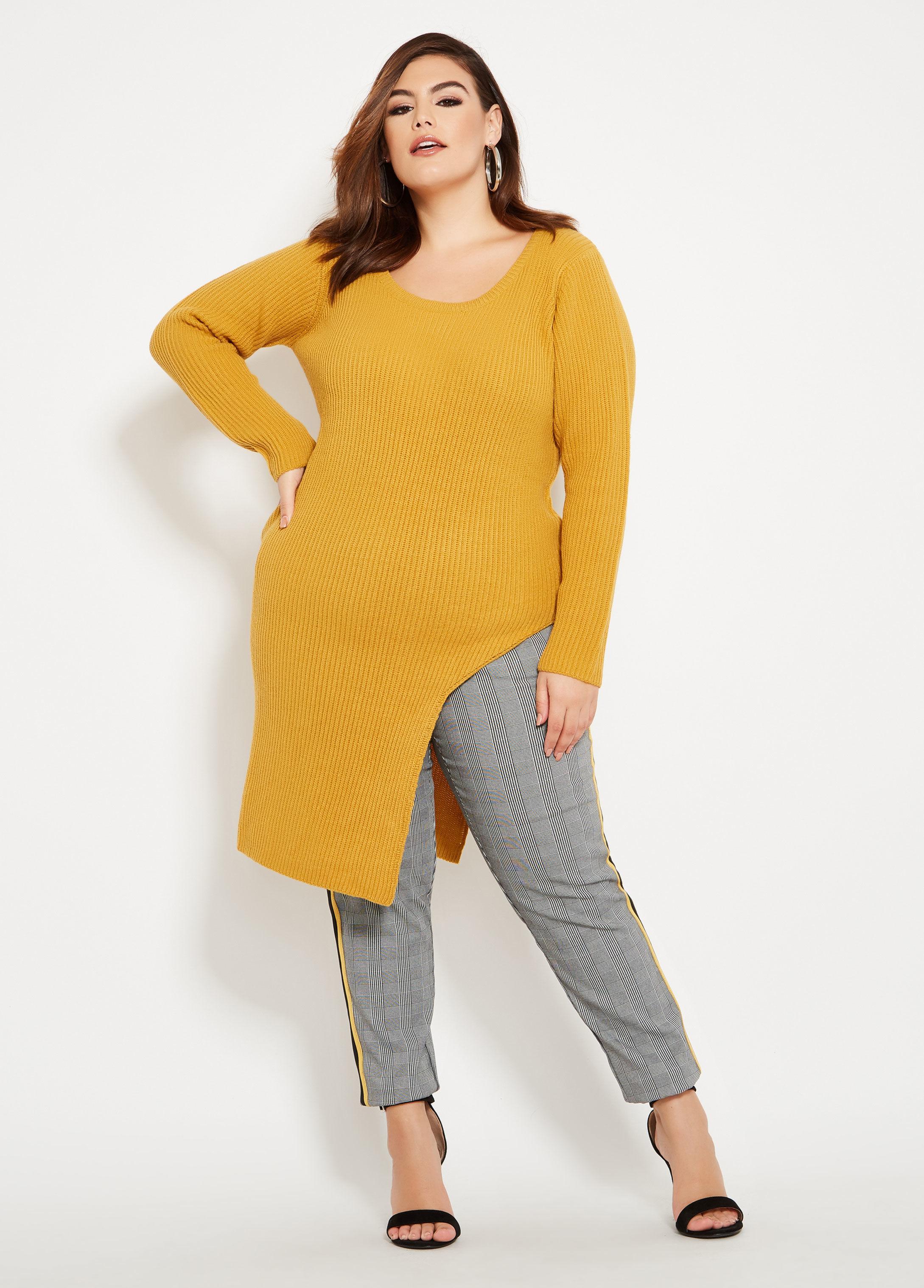 810d78d511c Ashley Stewart. Women s Plus Size High Slit Tunic Sweater