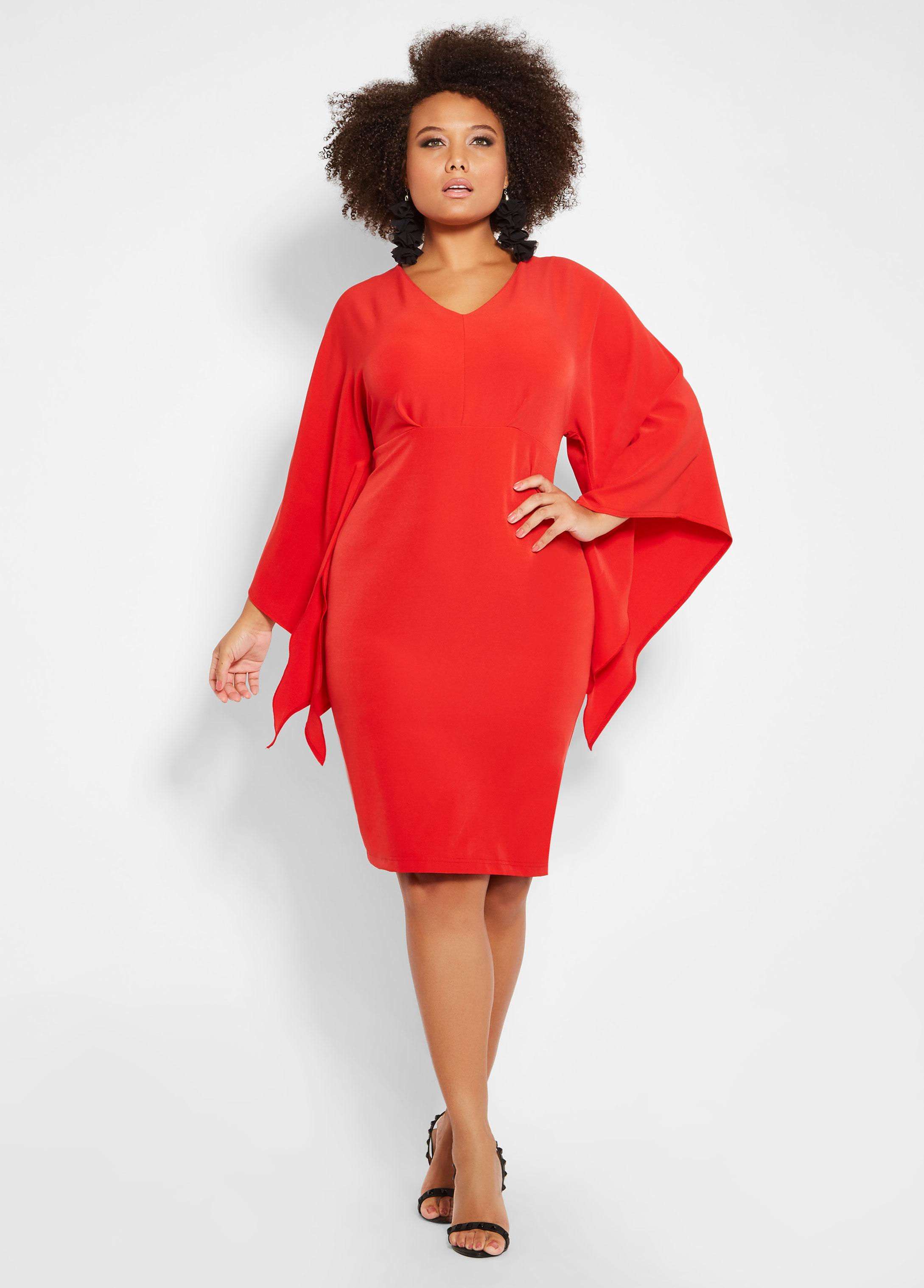 1955f897337 Lyst - Ashley Stewart Plus Size V Neck Drama Sleeve Dress in Red
