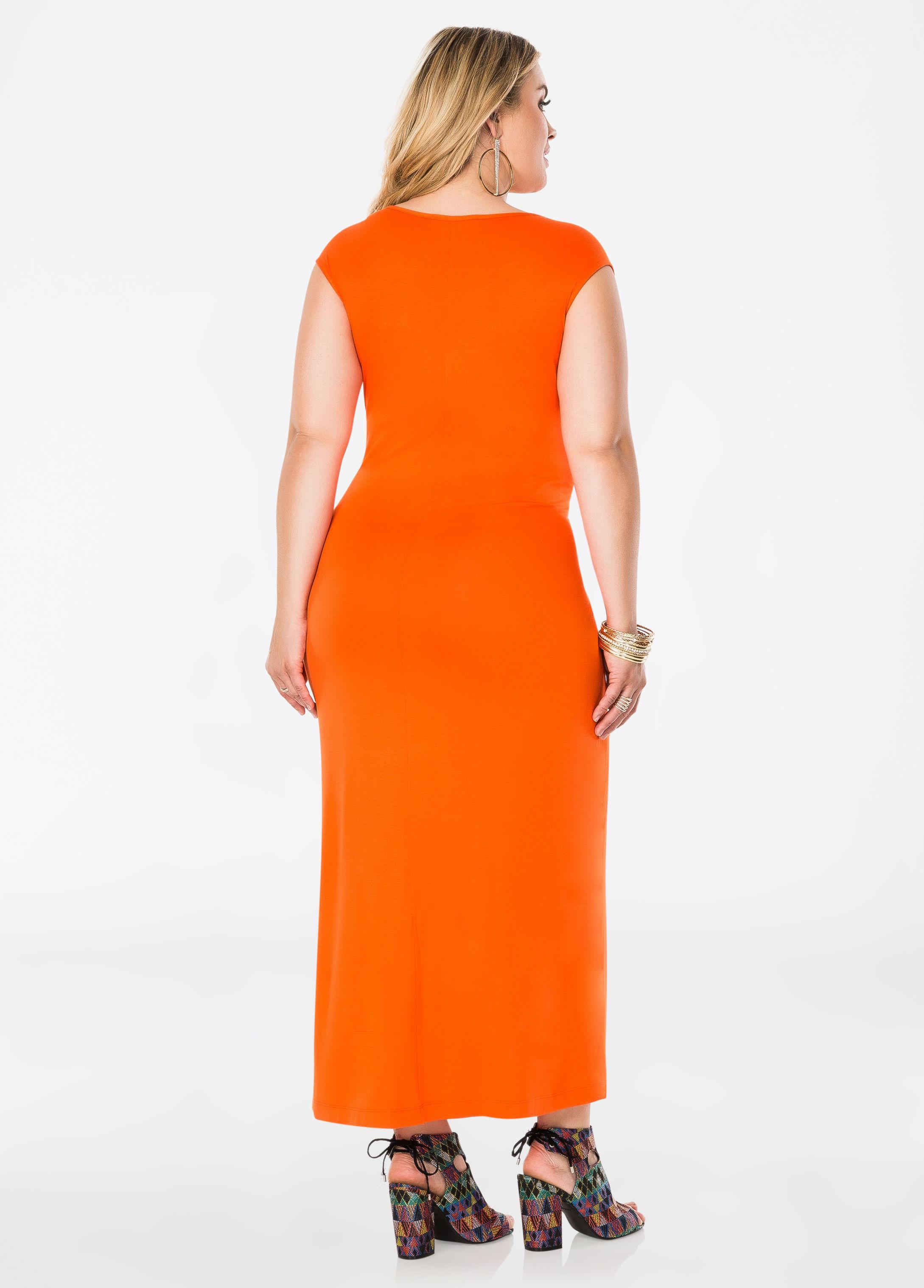 98fc3621d28 Lyst - Ashley Stewart Draped Knot Front Maxi Dress in Orange
