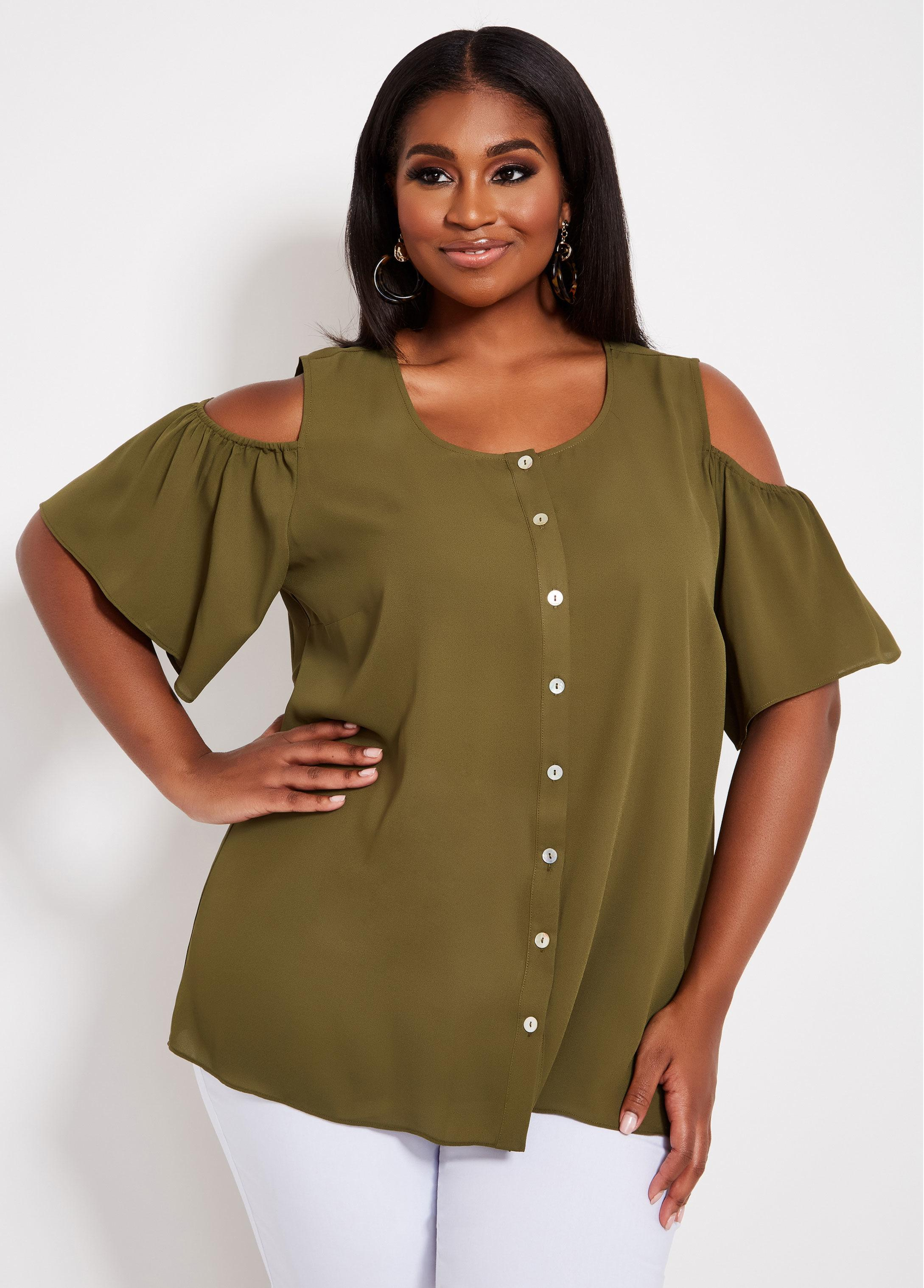 227cb88aae3 Lyst - Ashley Stewart Plus Size Solid Cold Shoulder Top in Green