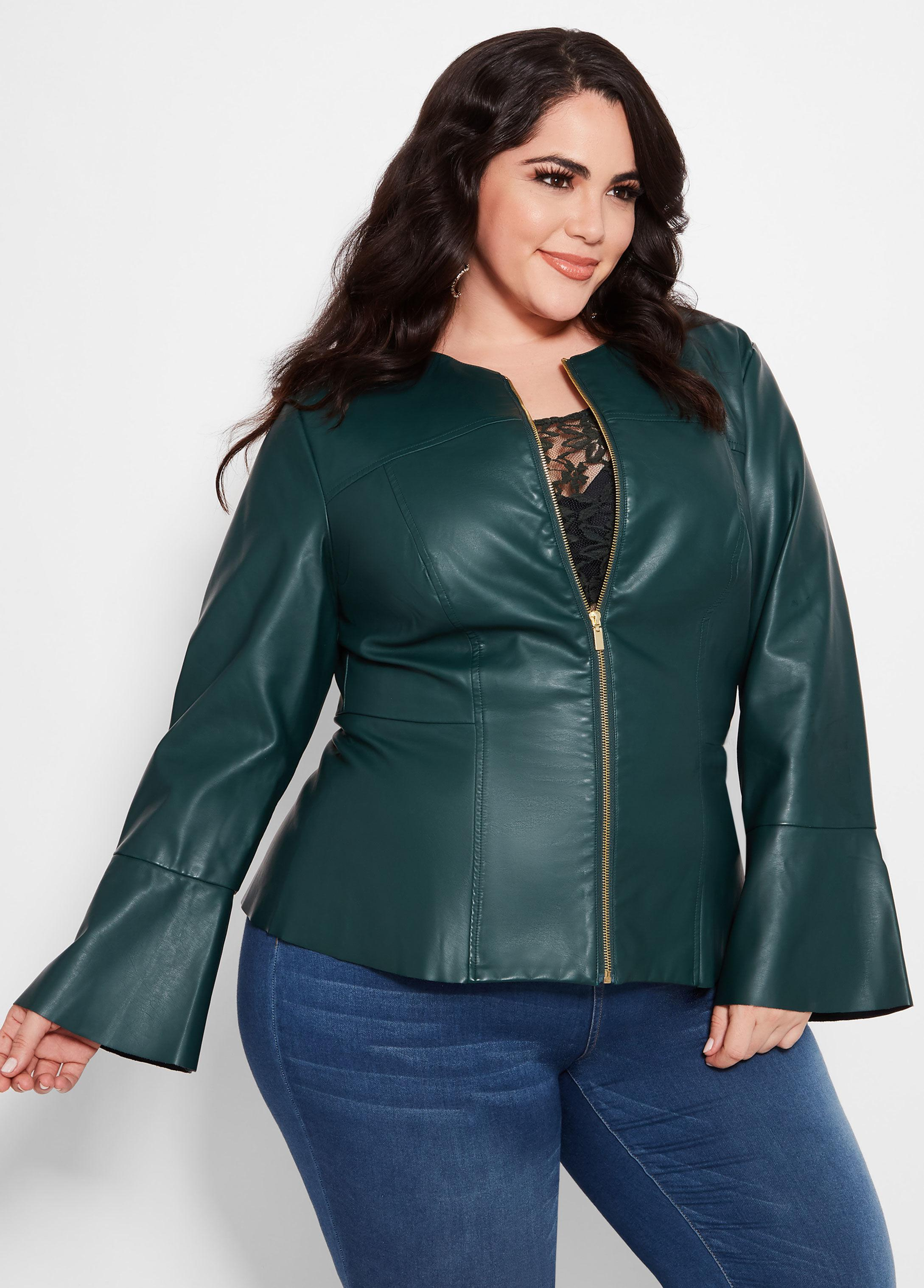 ccb0a89d132 Ashley Stewart Plus Size Collarless Faux Leather Jacket in Green - Lyst