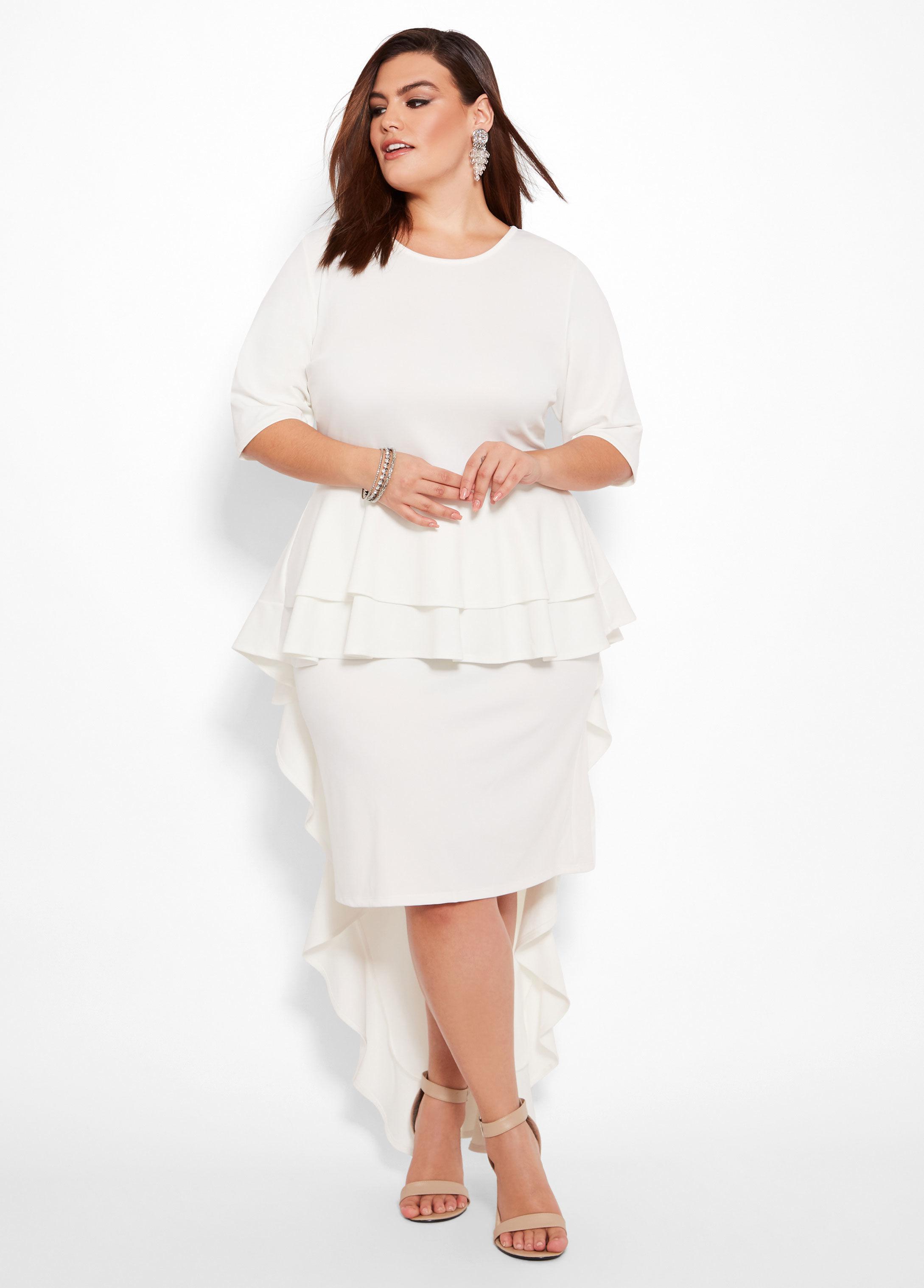6a87c6cc38b7a Lyst - Ashley Stewart Plus Size Peplum Dress With Train in White