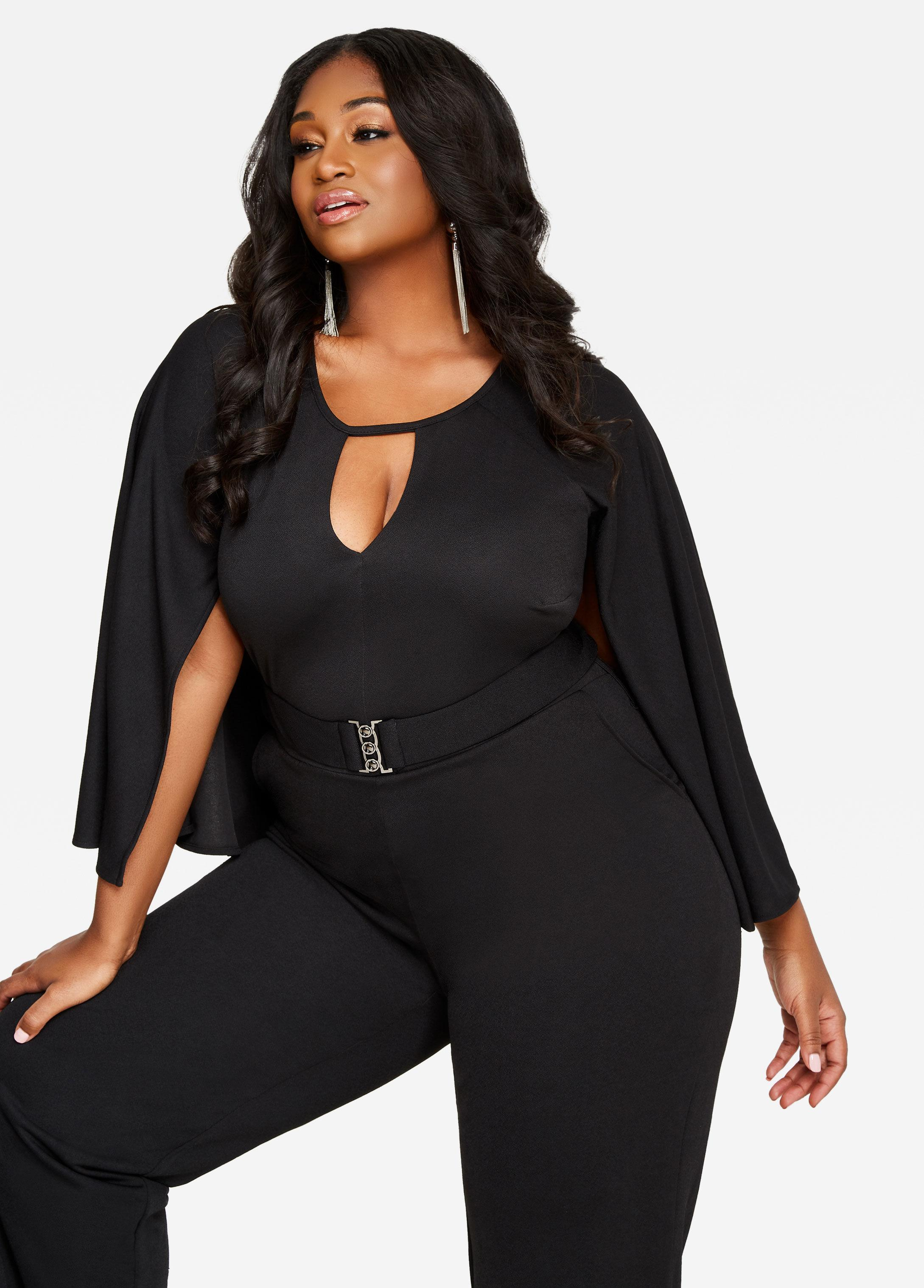 Lyst Ashley Stewart Cape Back Belted Jumpsuit In Black