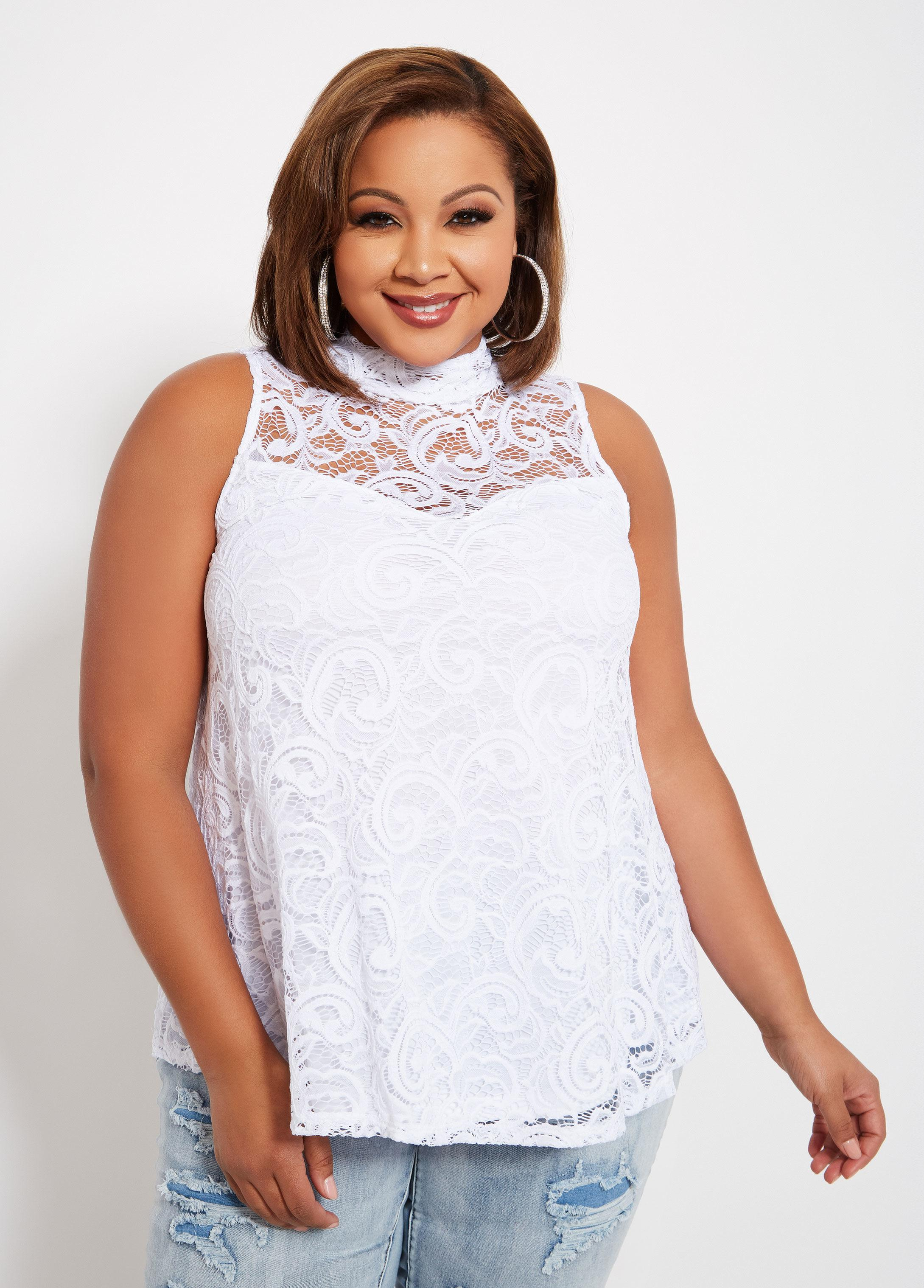 56ae4b3ac96 Ashley Stewart. Women s White Plus Size Sleeveless Lace Mock Neck Swing Top